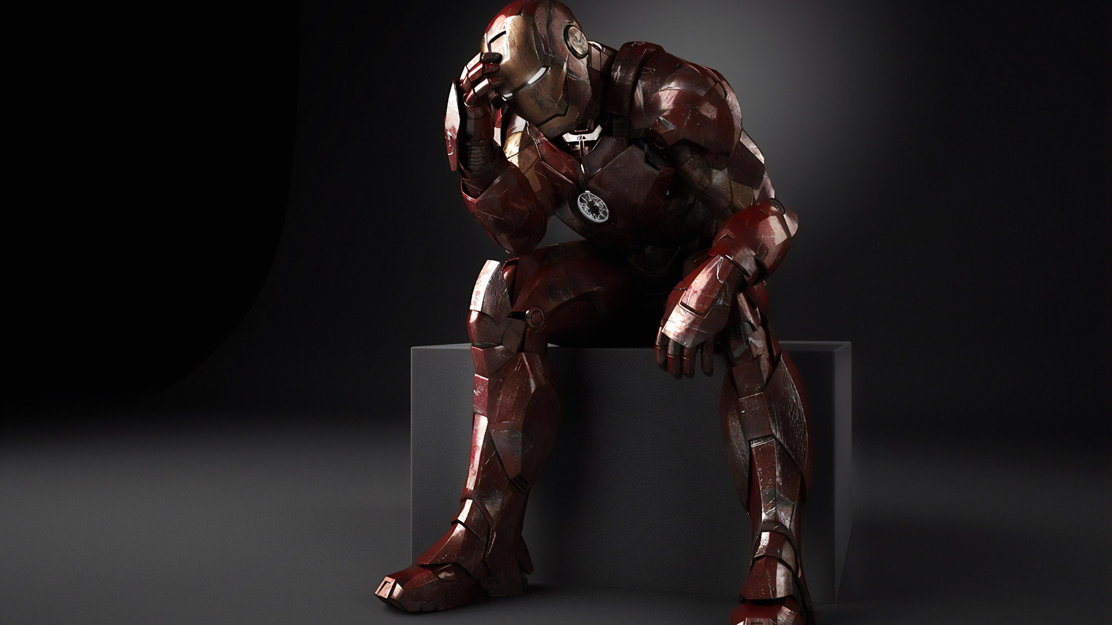 iron man thinking 1570394573 - Iron Man Thinking - superheroes wallpapers, iron man wallpapers, hd-wallpapers, digital art wallpapers, behance wallpapers, artwork wallpapers, 4k-wallpapers