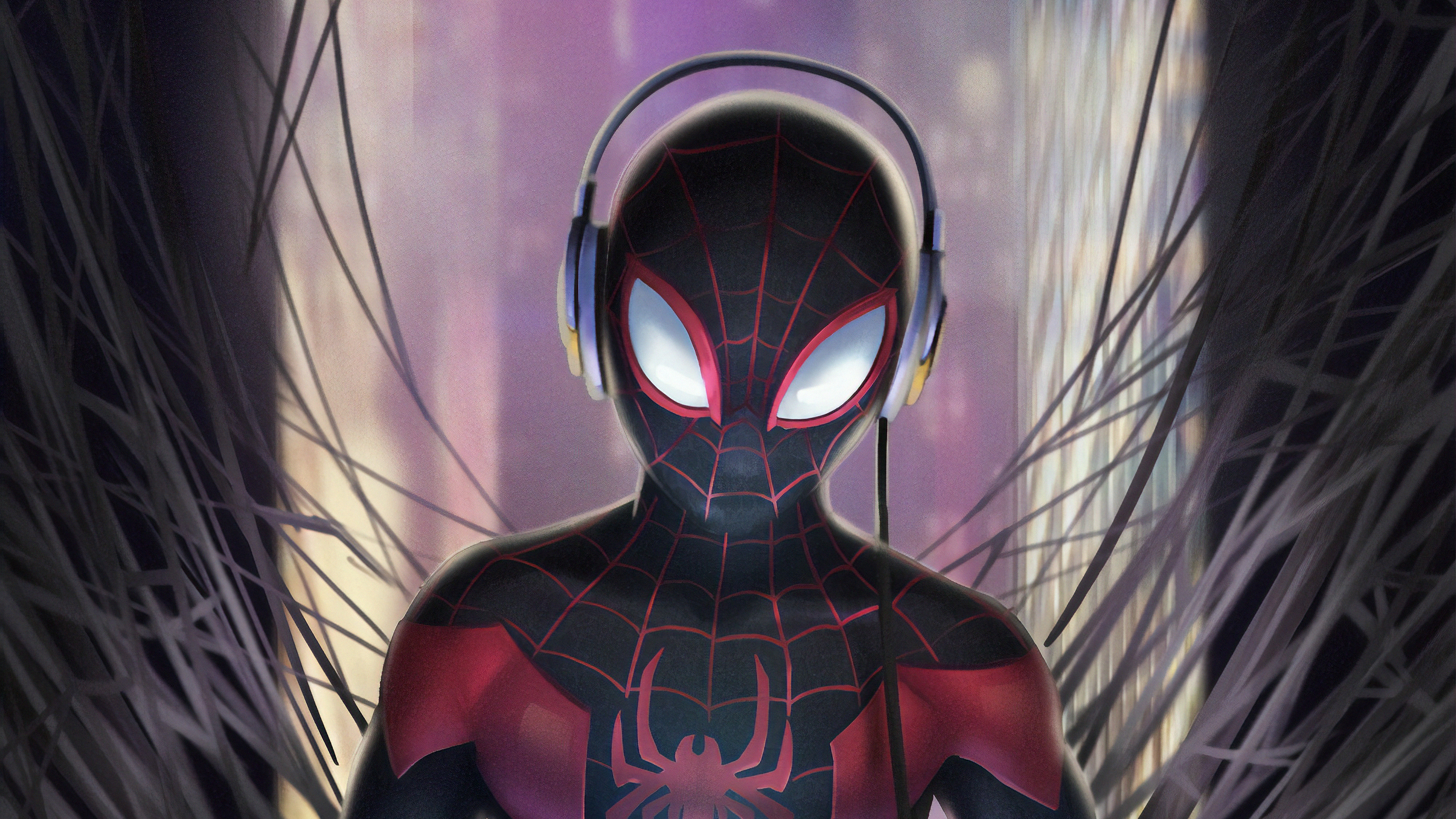 miles listening music 1570394802 - Miles Listening Music - superheroes wallpapers, spiderman wallpapers, hd-wallpapers, digital art wallpapers, artwork wallpapers, arstation wallpapers