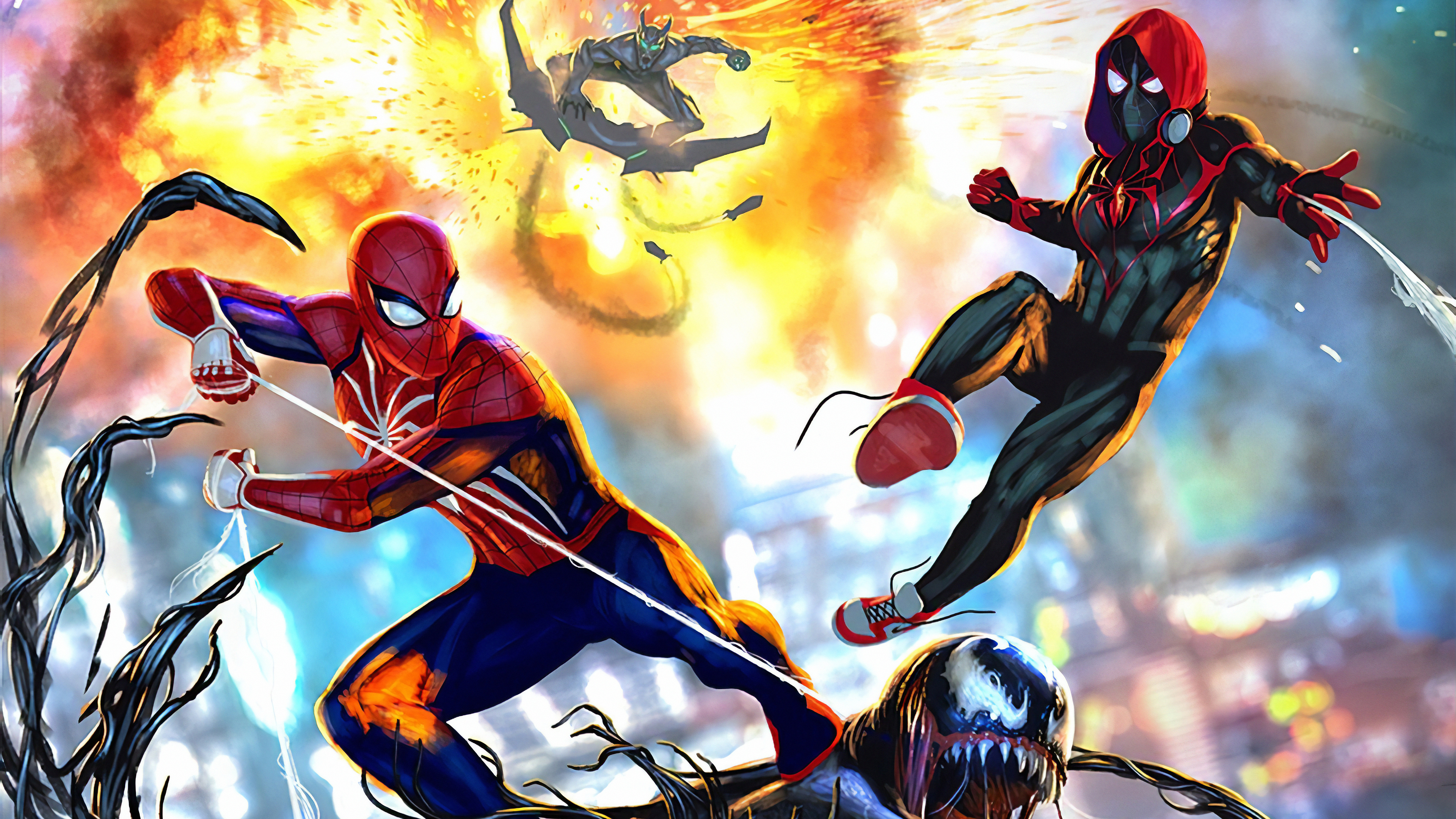 spiderman and miles 1572368473 - Spiderman And Miles - superheroes wallpapers, spiderman wallpapers, hd-wallpapers, digital art wallpapers, artwork wallpapers, art wallpapers, 4k-wallpapers