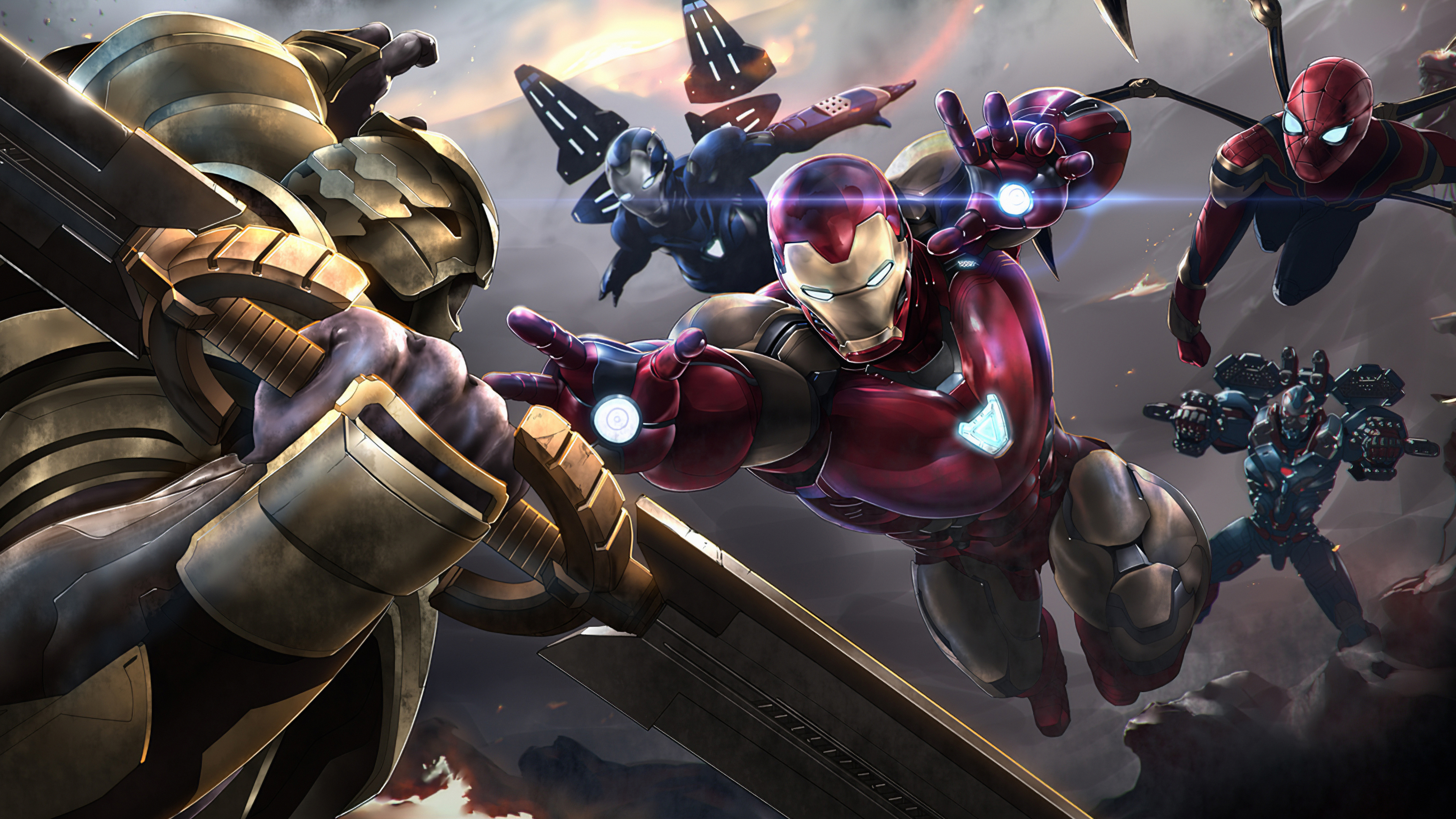 thanos vs iron man team 1572368225 - Thanos Vs Iron Man Team - thanos-wallpapers, superheroes wallpapers, iron man wallpapers, hd-wallpapers, artwork wallpapers, 4k-wallpapers