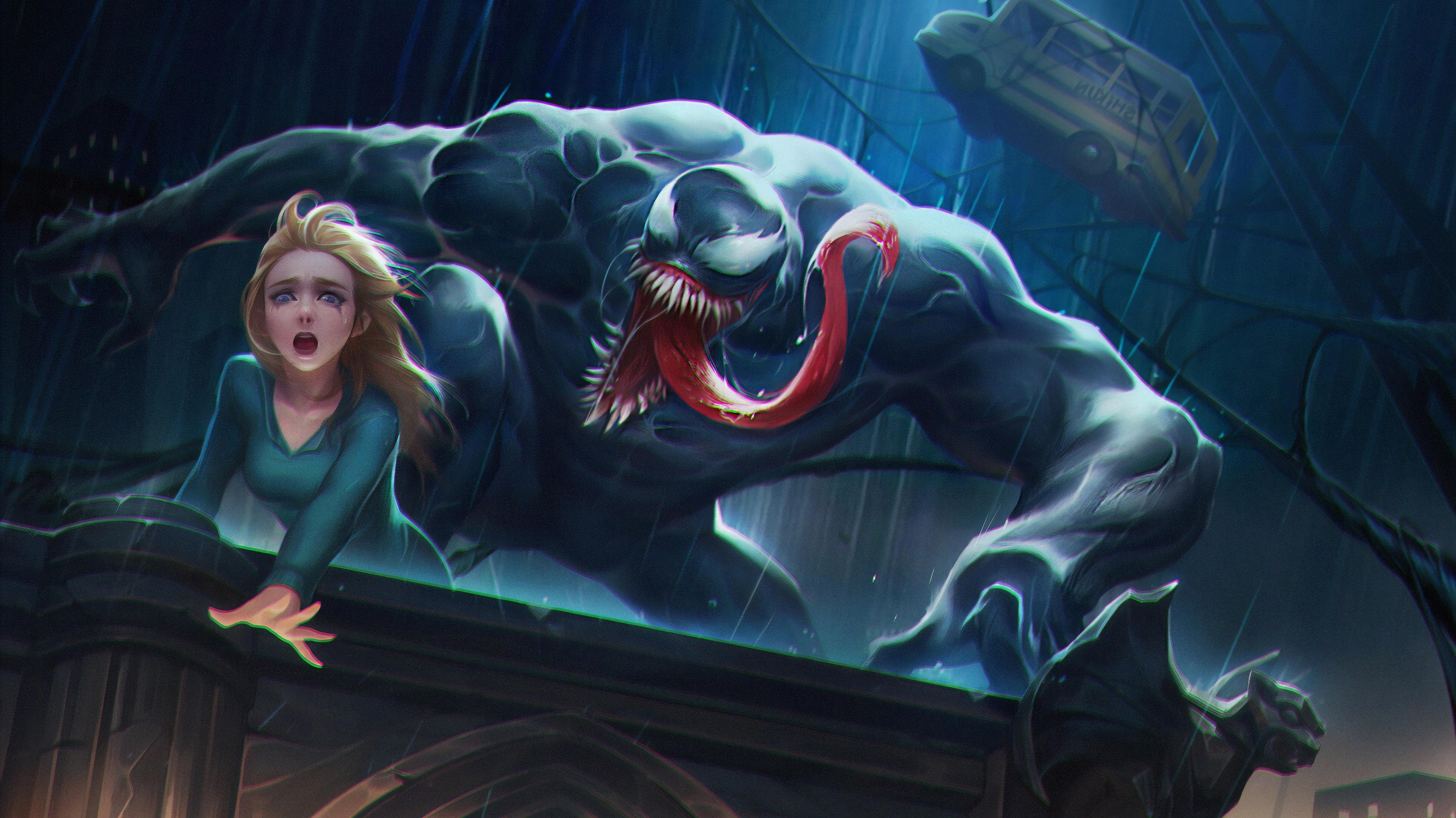 venom about to eat girl 1570394690 - Venom About To Eat Girl - Venom wallpapers, superheroes wallpapers, hd-wallpapers, digital art wallpapers, artwork wallpapers, artstation wallpapers, 4k-wallpapers