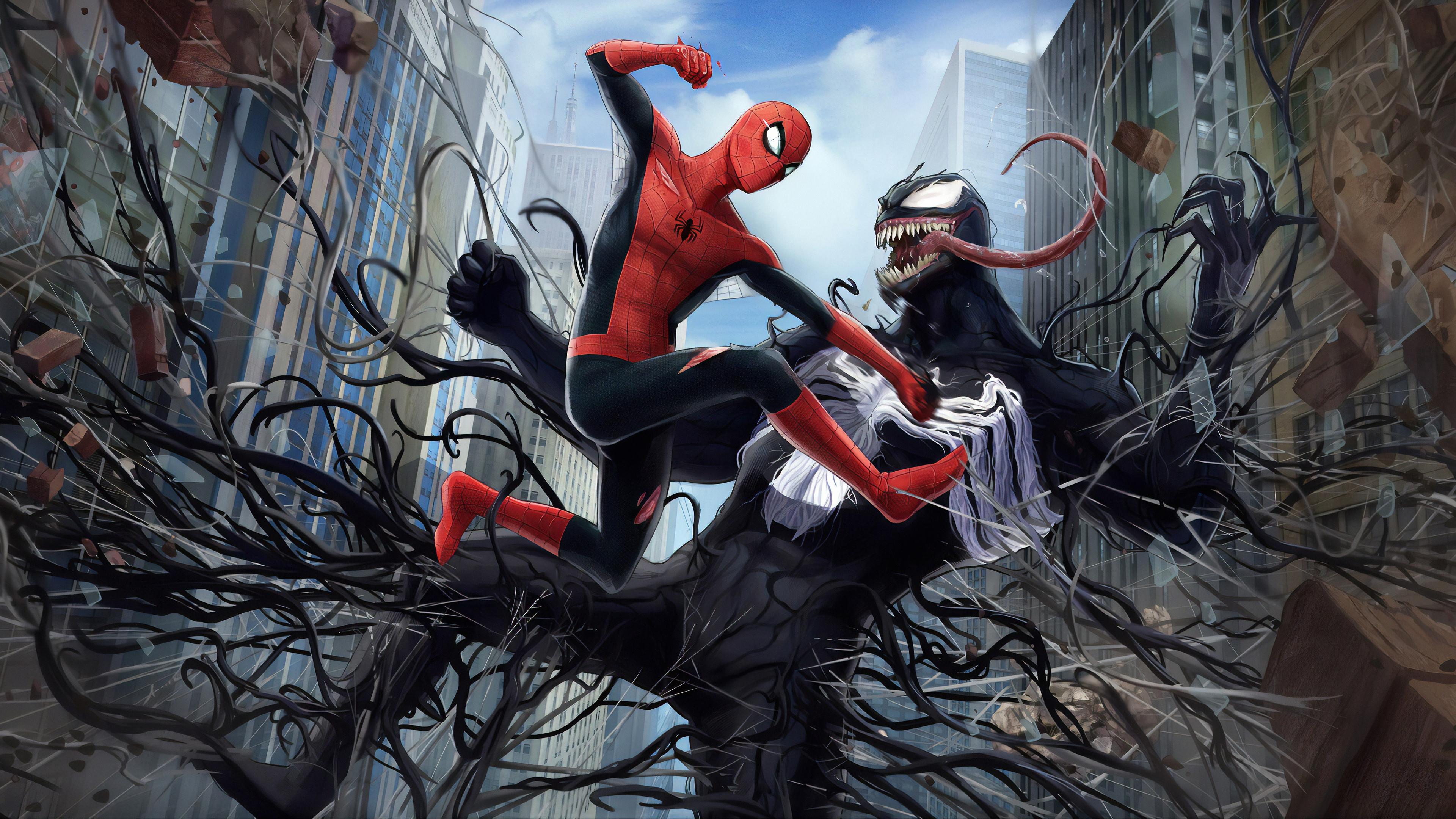 venom spiderman fight 1570394420 - Venom Spiderman Fight - Venom wallpapers, superheroes wallpapers, spiderman wallpapers, hd-wallpapers, artwork wallpapers, 4k-wallpapers