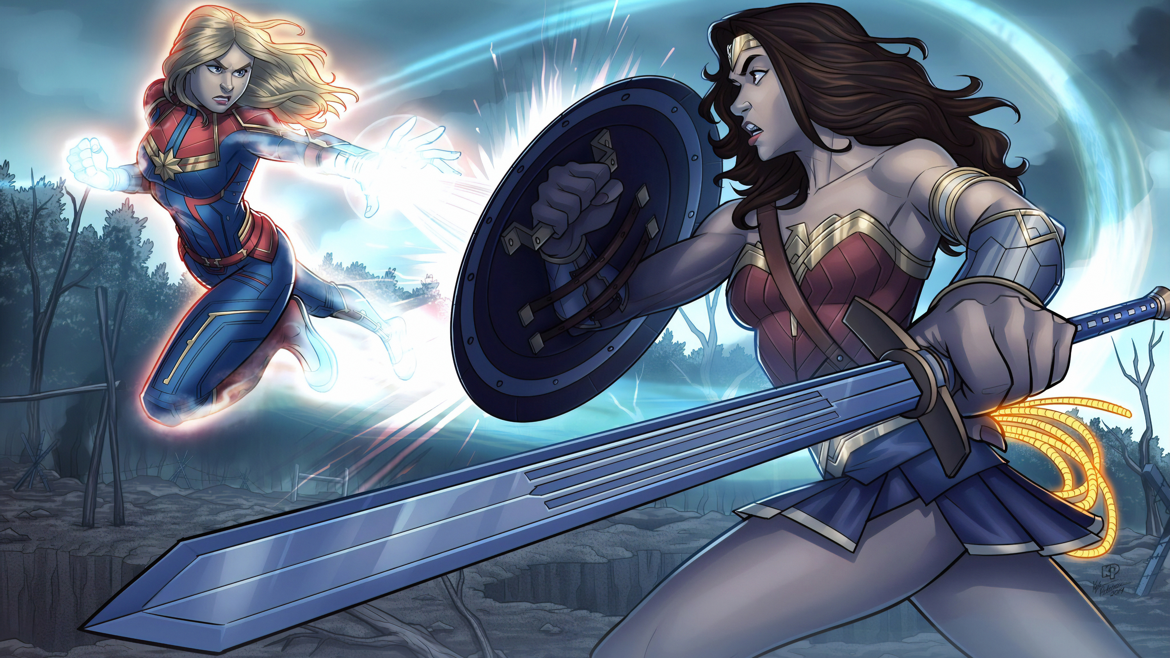 wonder woman and captain marvel 1570394314 - Wonder Woman And Captain Marvel - wonder woman wallpapers, superheroes wallpapers, hd-wallpapers, artwork wallpapers, art wallpapers, 4k-wallpapers