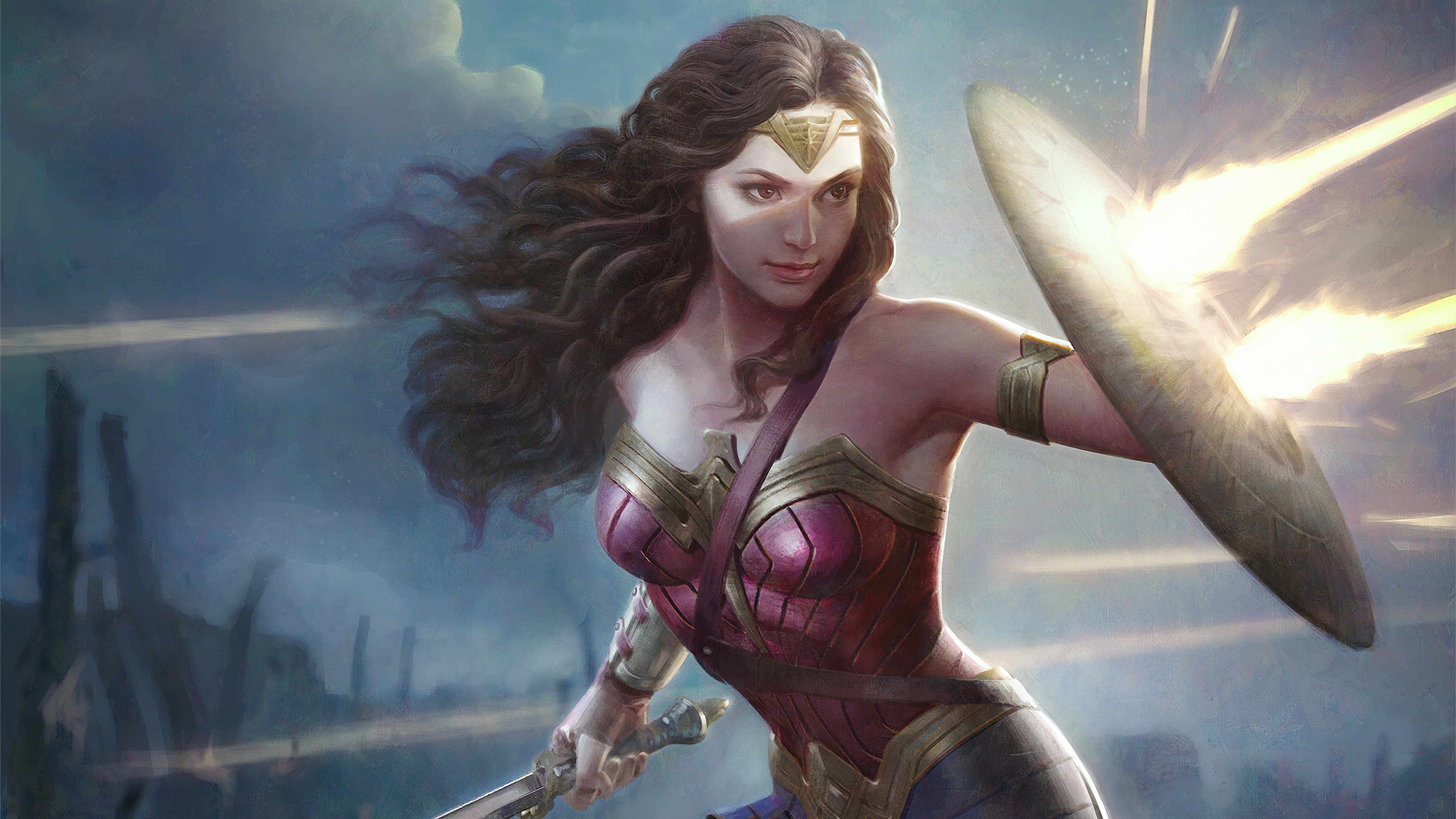 Wallpaper 4k Wonder Woman Shieldart 4k Wallpapers Artist