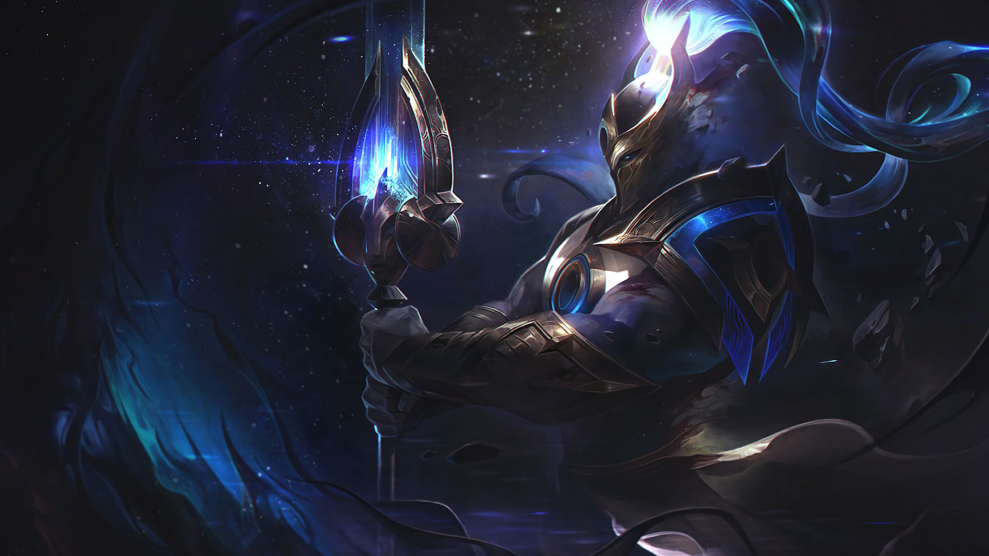 Wallpaper 4k Cosmic Defender Xin Zhao Lol Splash Art League Of Legends Lol Cosmic League Of Legends League Of Legends Xin Zhao