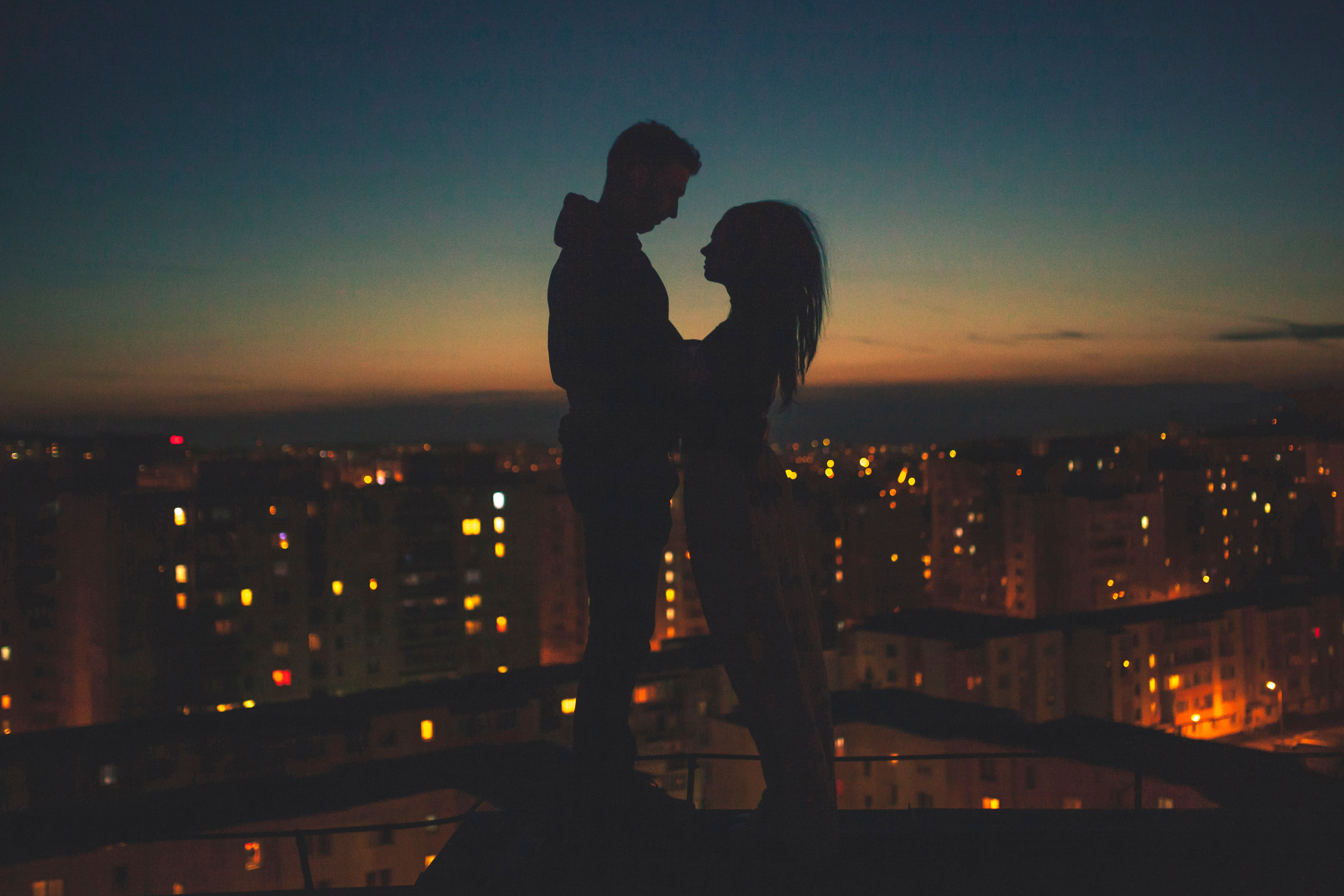 couple silhouette city view behind 1574939685 - Couple Silhouette City View Behind -