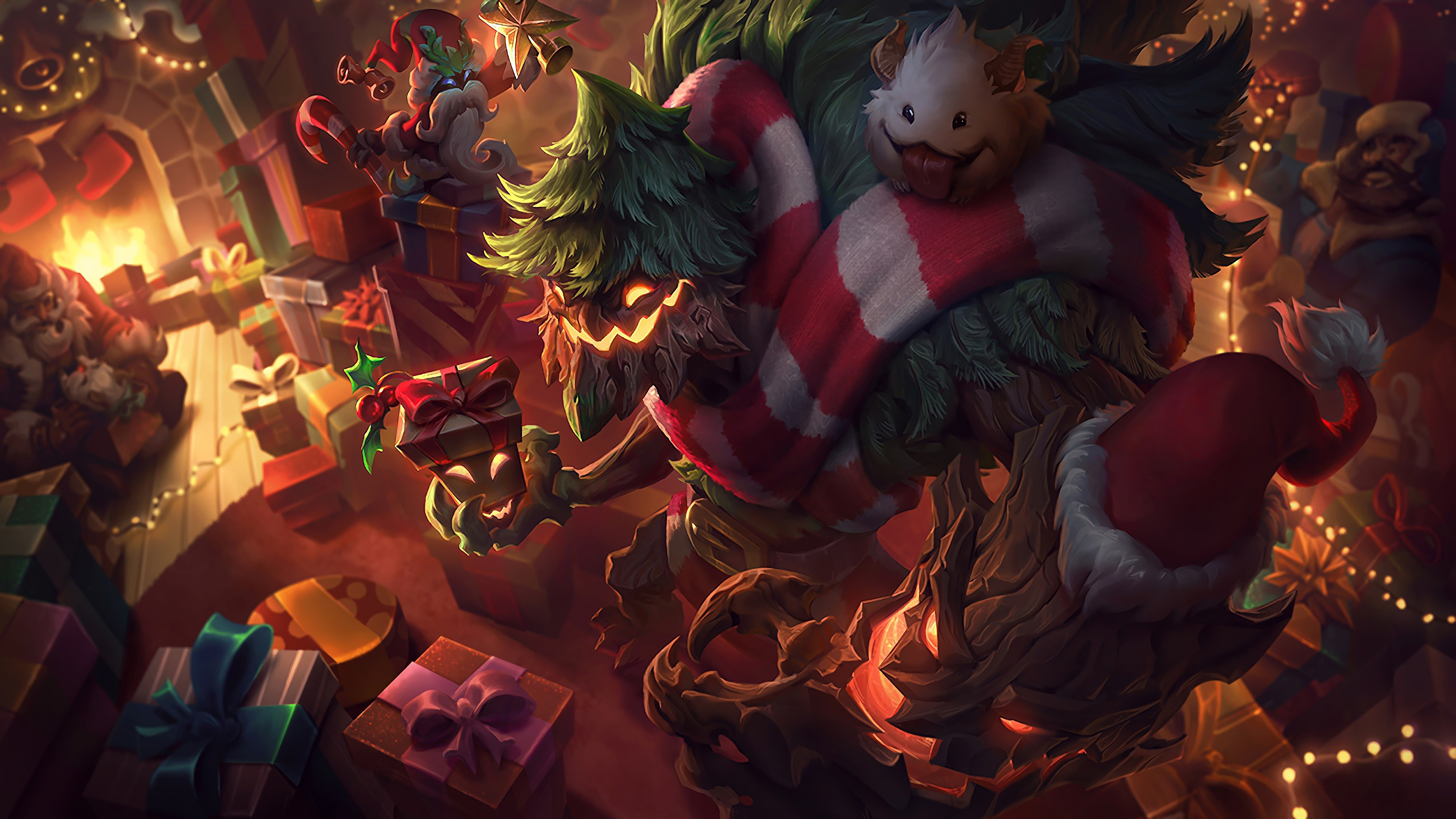 Wallpaper 4k Festive Maokai Lol Splash Art League Of Legends