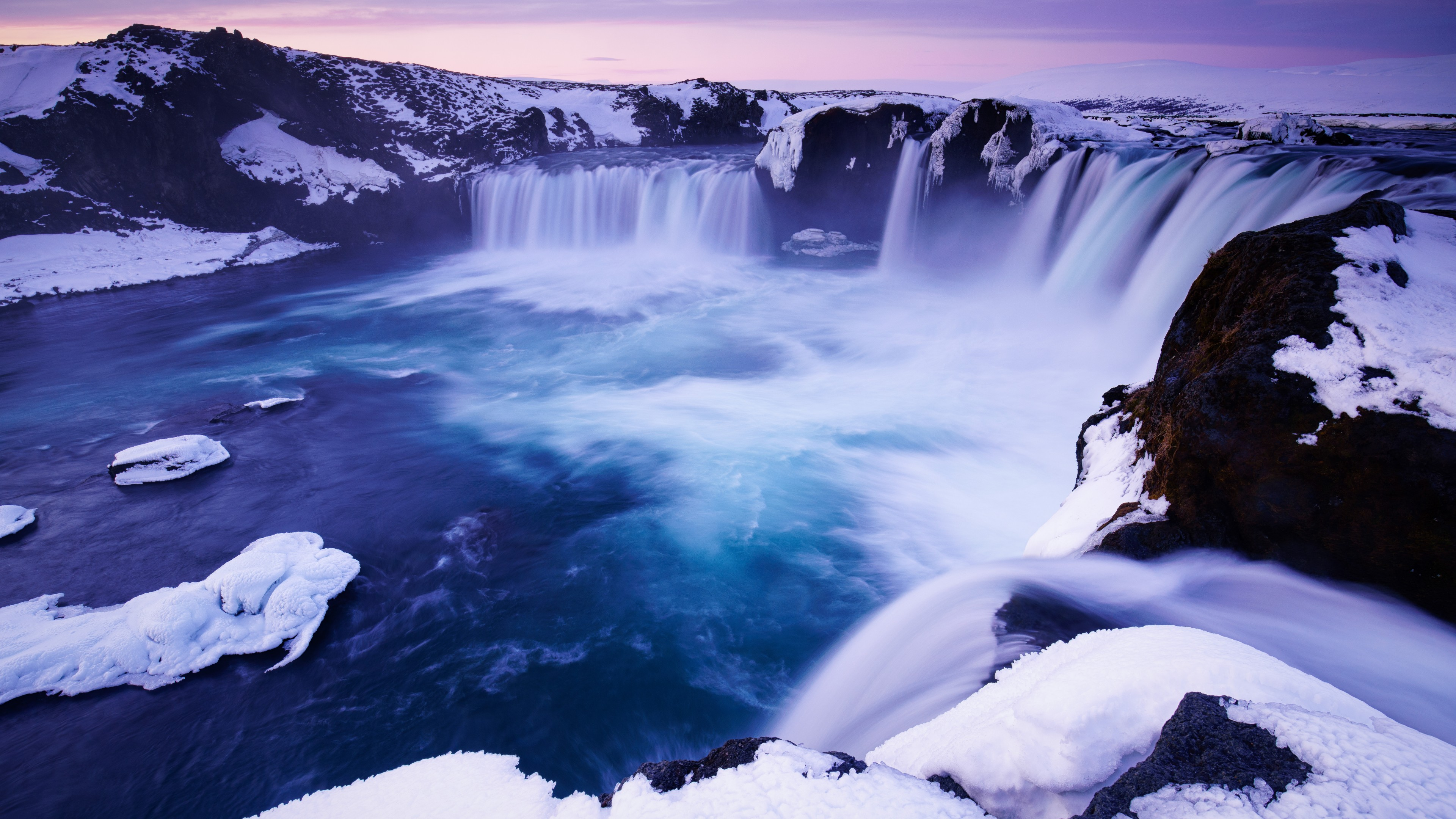 godafoss falls waterfall snow 1574939424 - Godafoss Falls Waterfall Snow -