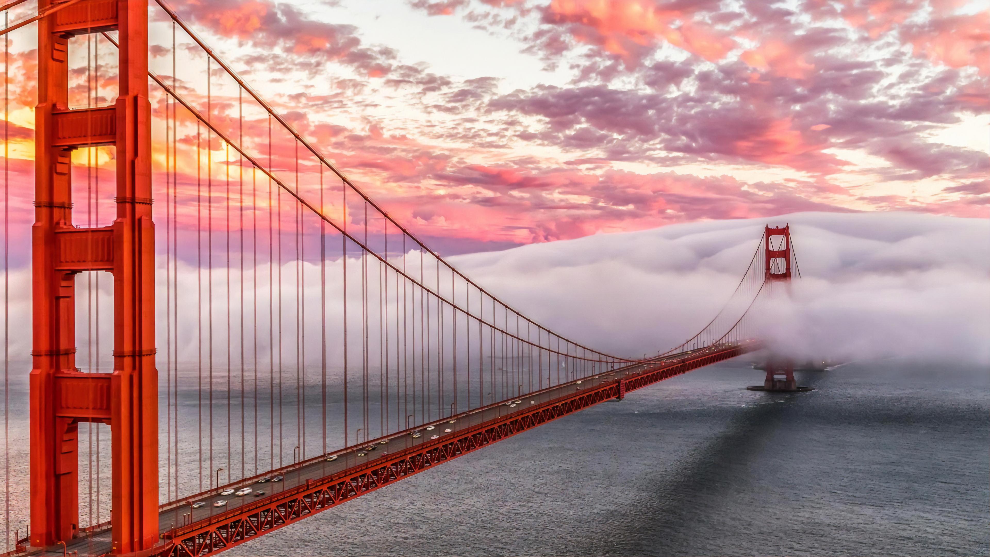 Wallpaper 4k Golden Gate Bridge Morning