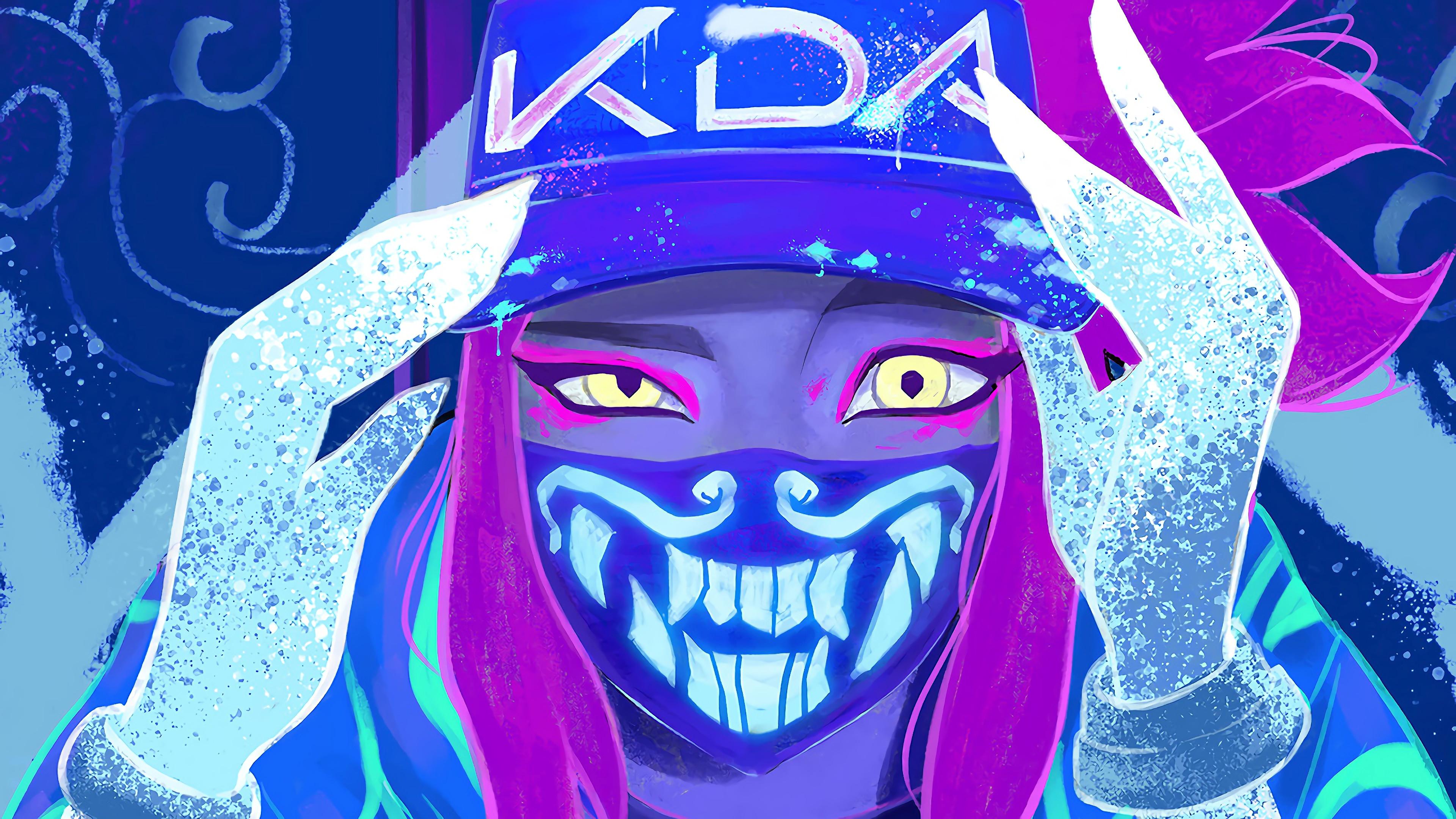 Wallpaper 4k K Da Akali Mask Neon Lol League Of Legends Lol Akali