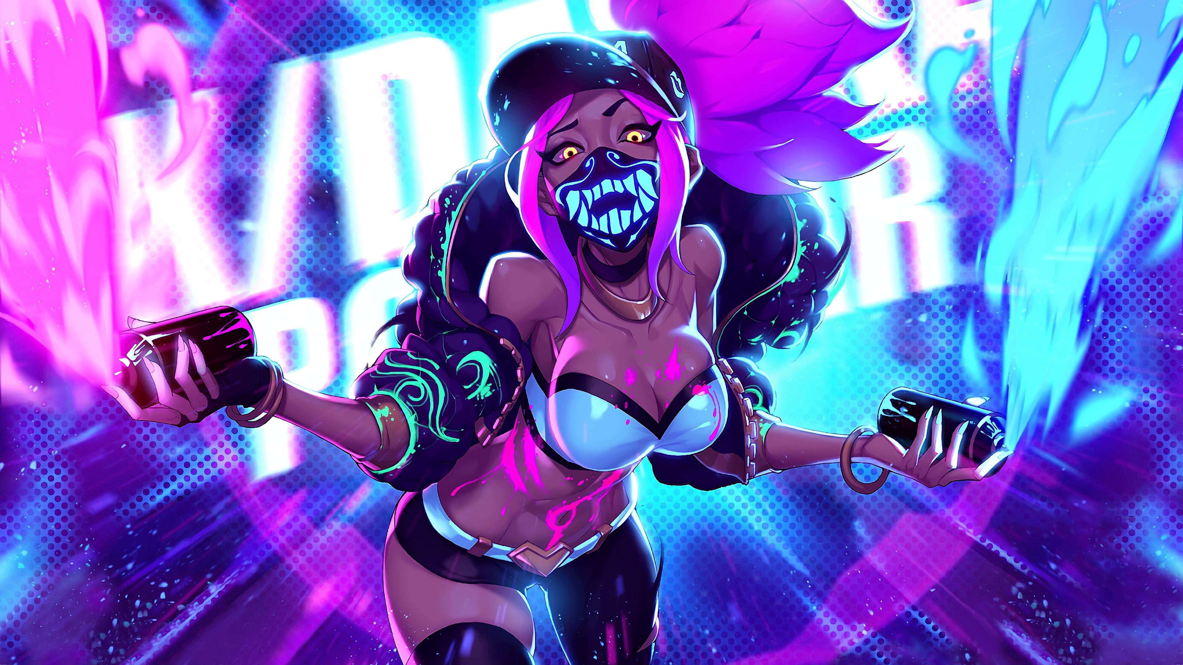 Wallpaper 4k K Da Akali Neon Mask Lol League Of Legends Lol Akali