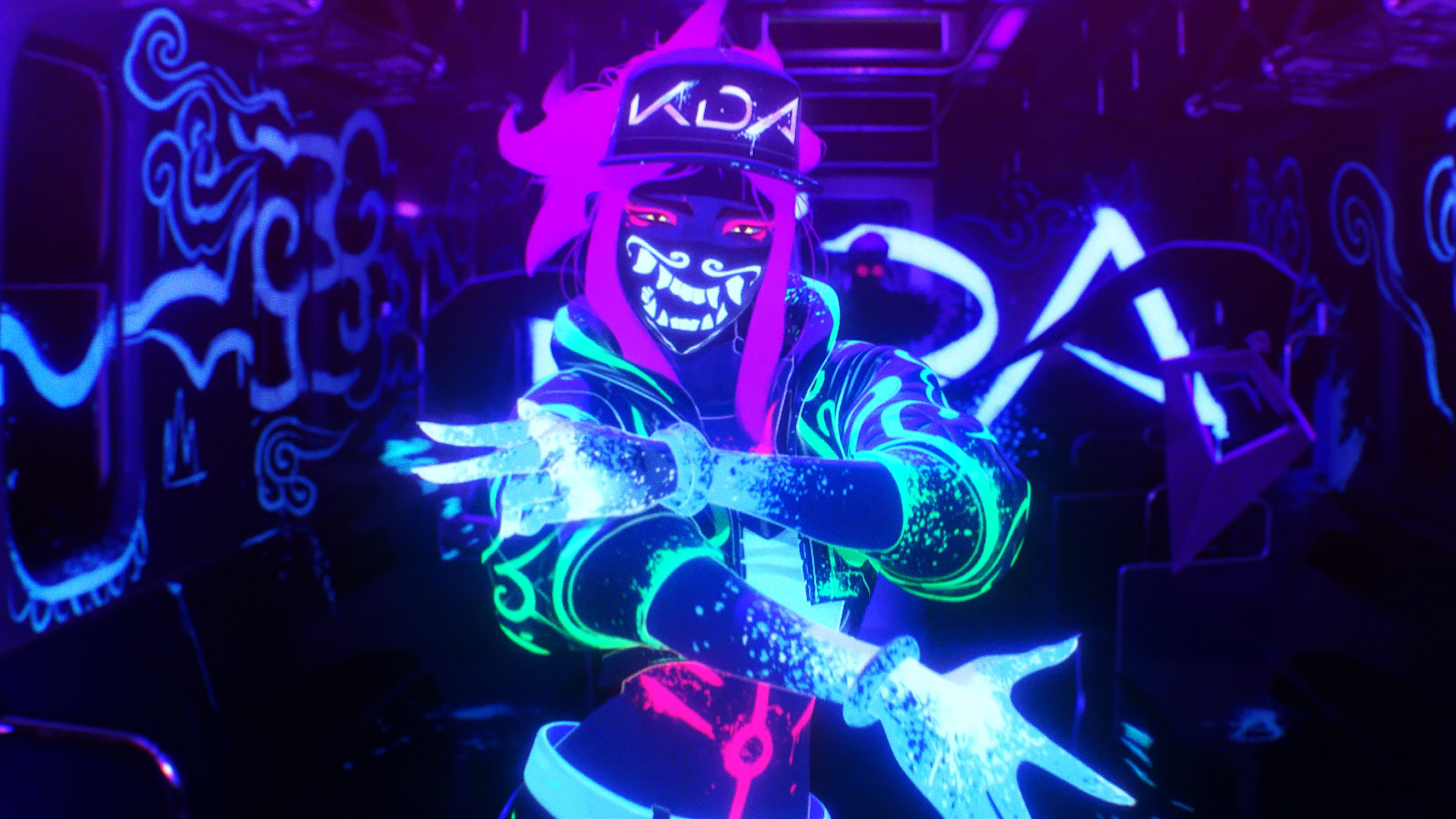 Wallpaper 4k K Da Pop Stars Neon Akali League Of Legends Lol Lol