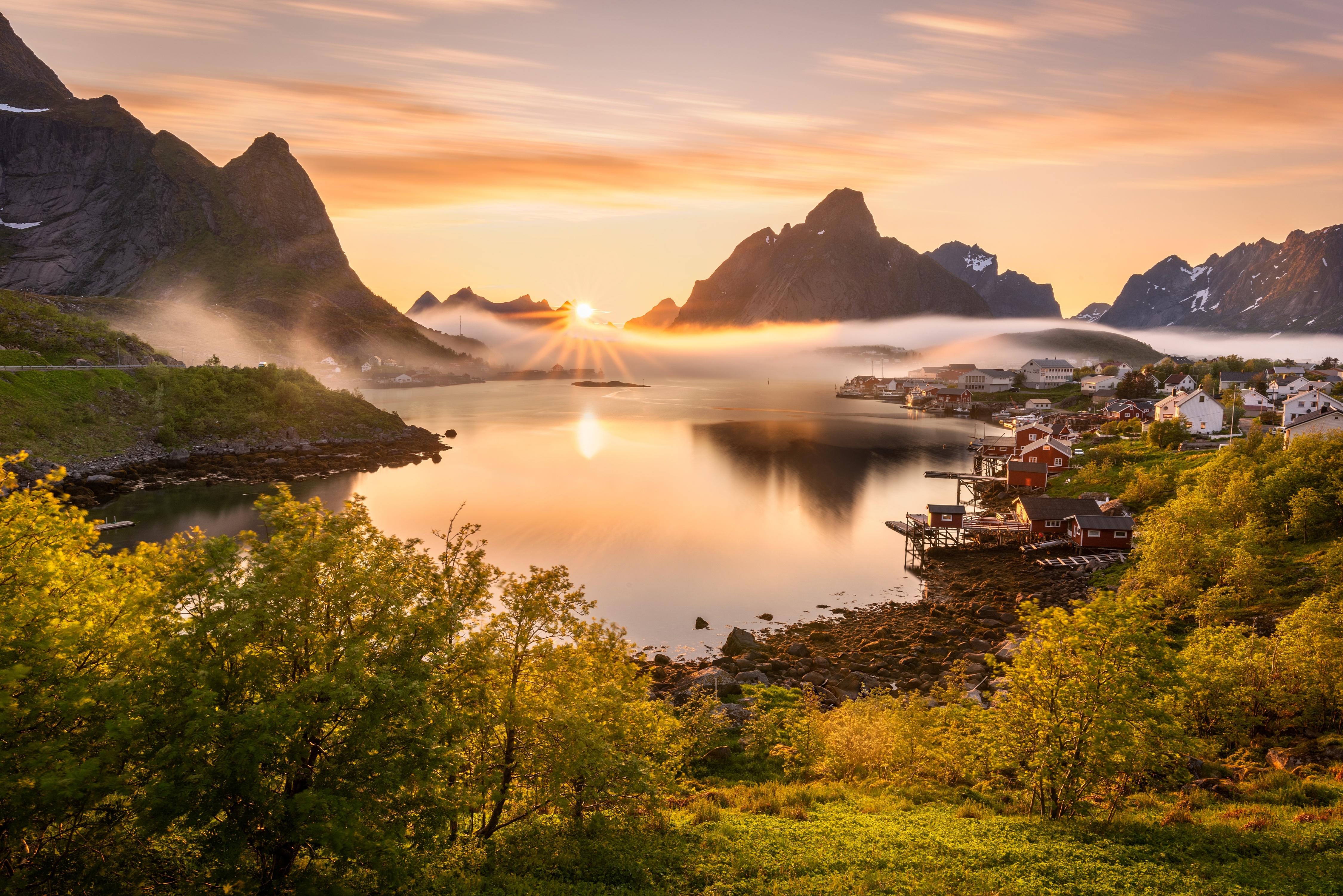 norway scenery mountains reine fog sun bay 1574937773 - Norway Scenery Mountains Reine Fog Sun Bay -