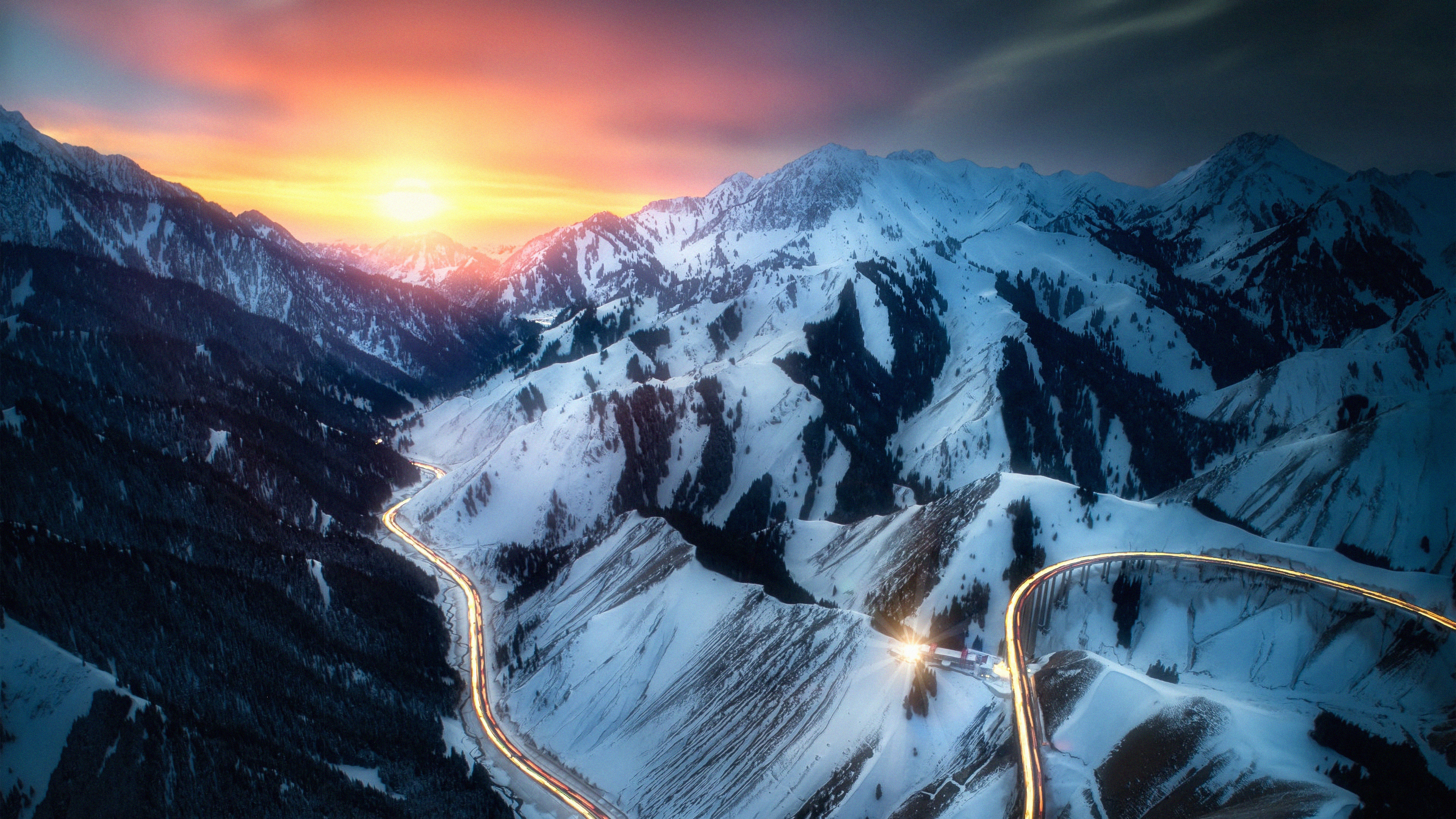 road snow mountains long exposure 1574939637 - Road Snow Mountains Long Exposure -