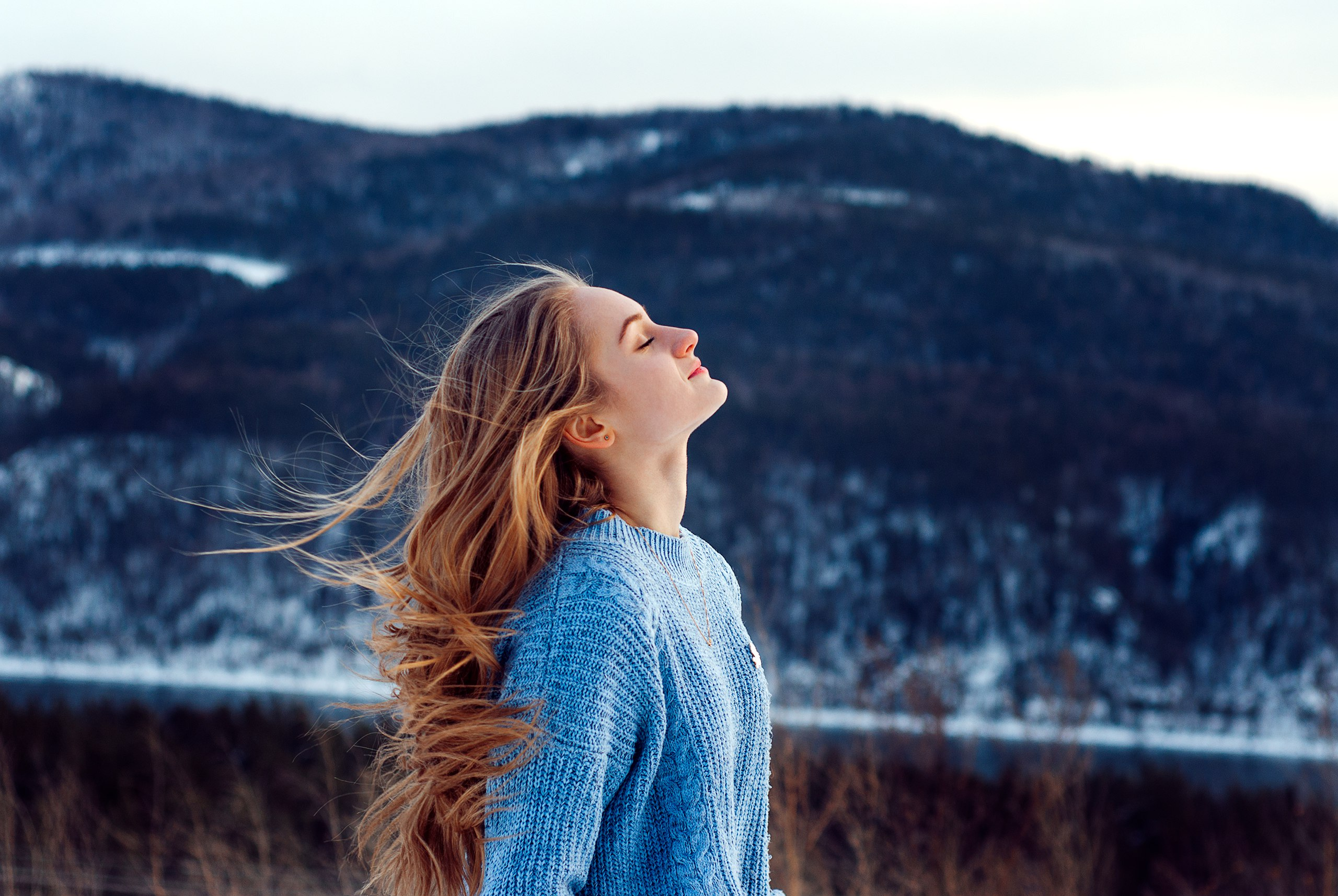 windy weather snow closed eyes girl 1574939448 - Windy Weather Snow Closed Eyes Girl -