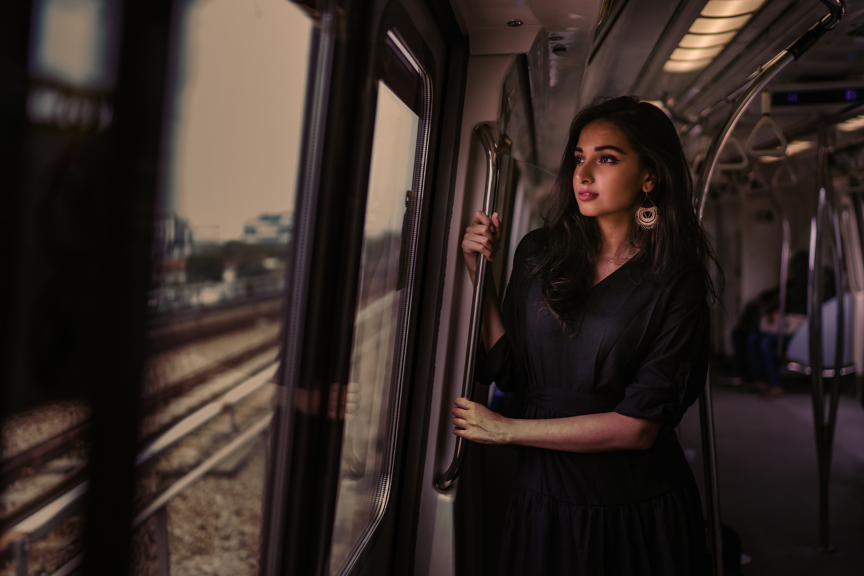 beautiful woman black dress brunette train 1575665884 - Beautiful Woman Black Dress Brunette Train -