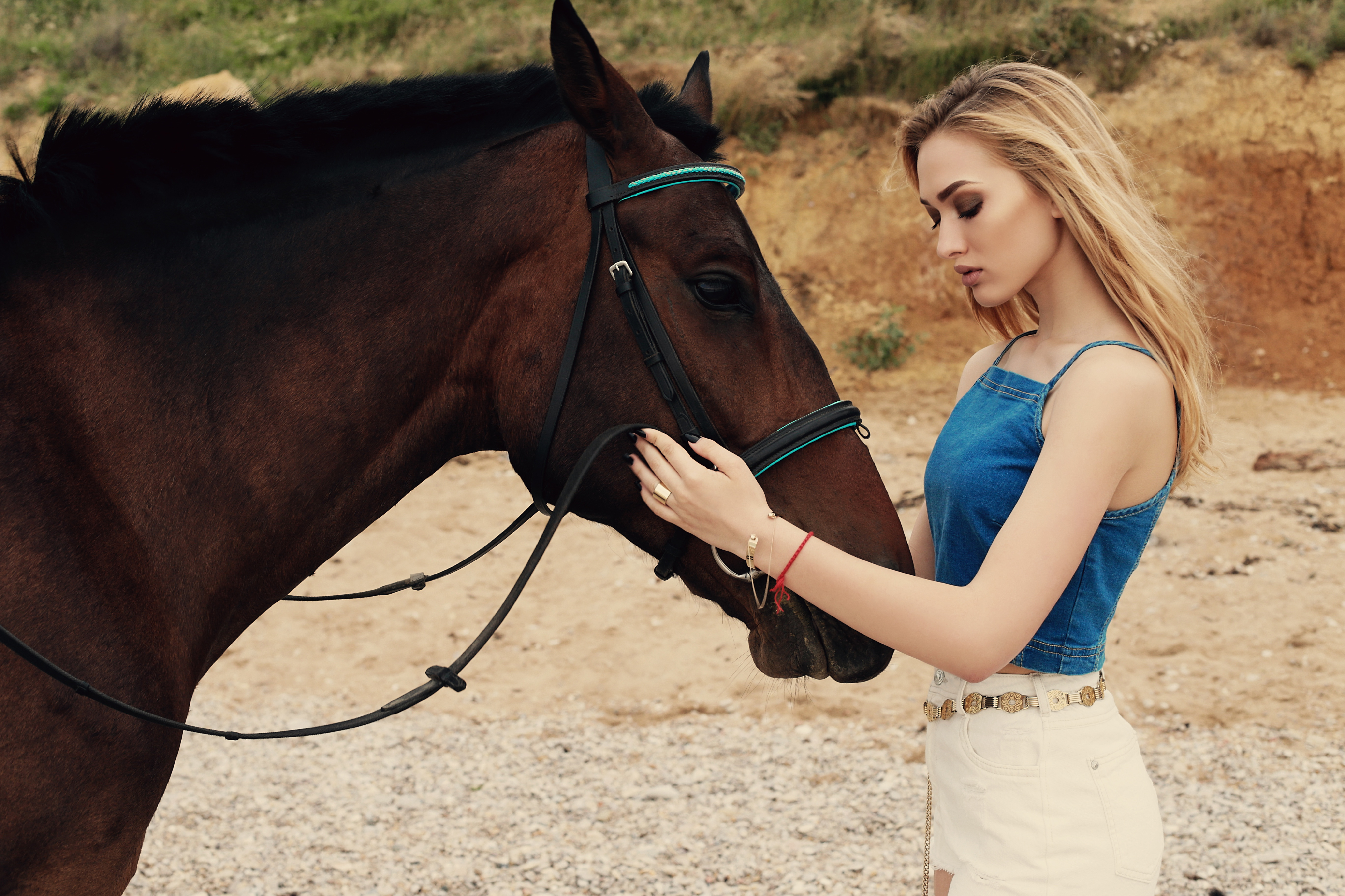 blonde girl with horse 1575665095 - Blonde Girl With Horse -