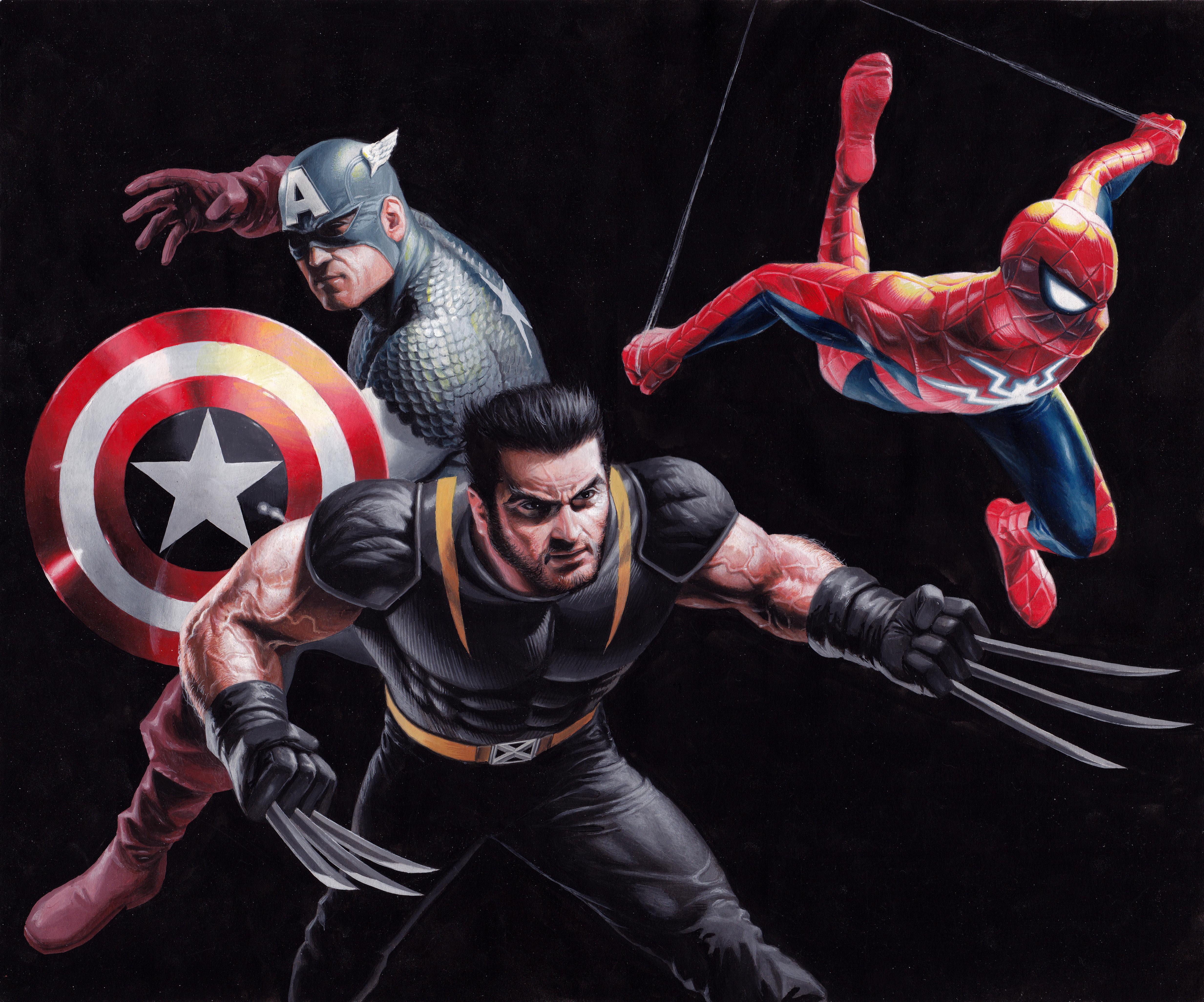 captain america spider man wolverine art 1576098014 - Captain America Spider man Wolverine art - Captain America Spider man Wolverine 4k wallpaper