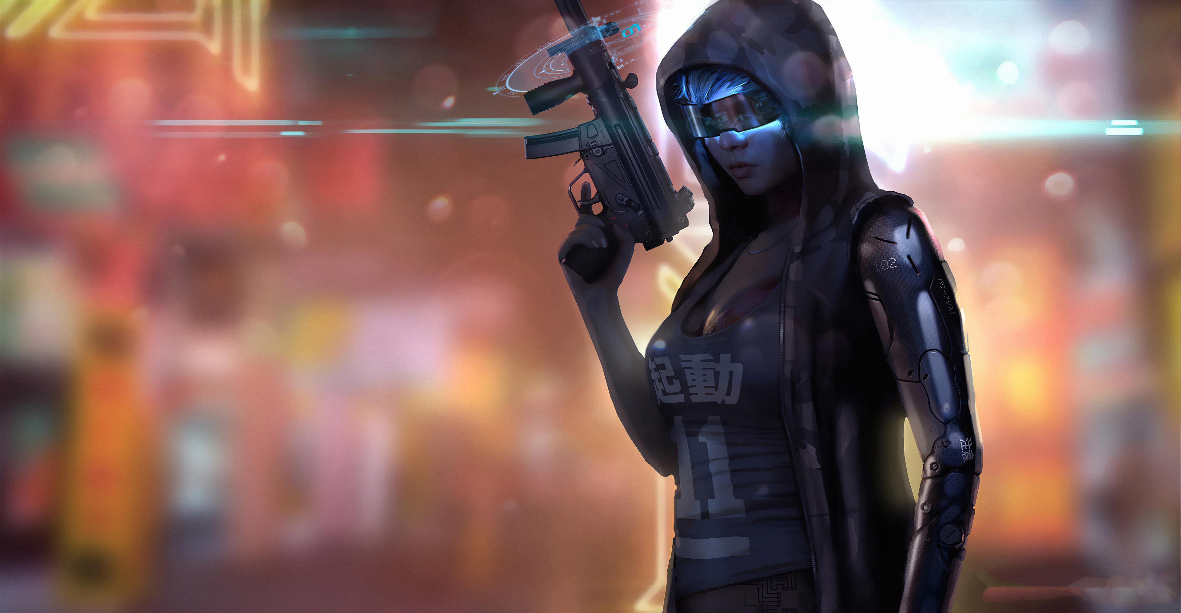 cyberpunk girl gun 1575661741 - Cyberpunk Girl Gun -