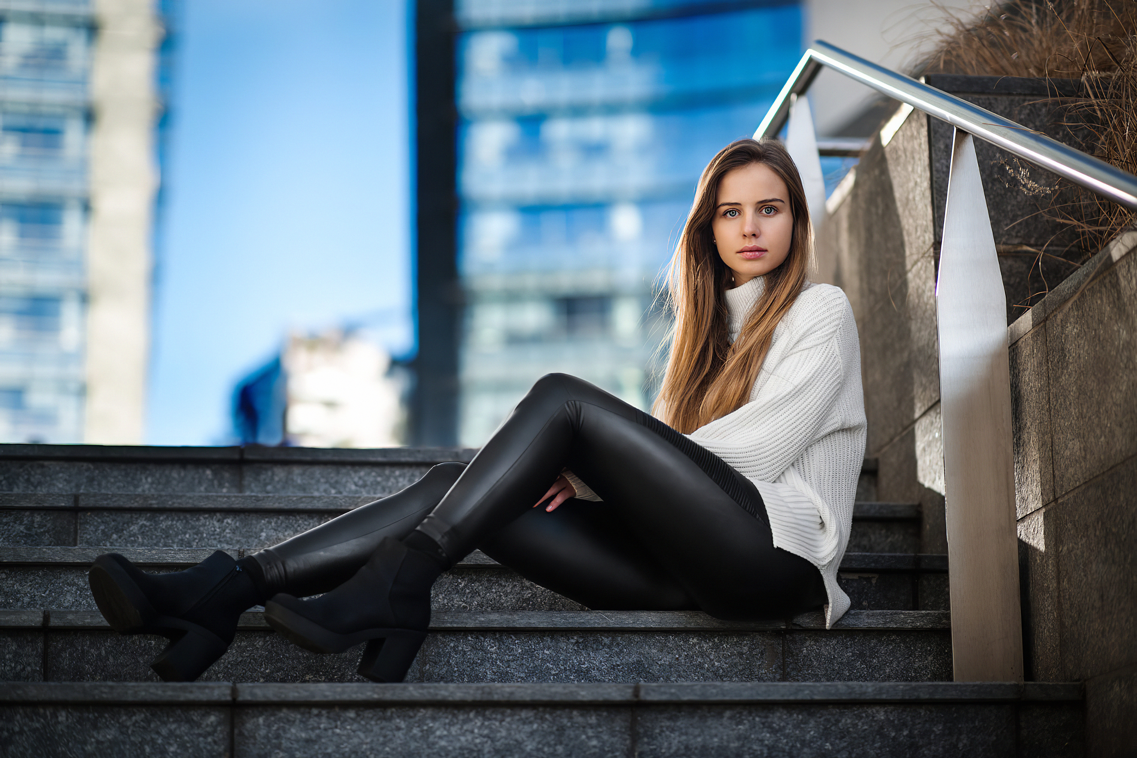 girl sitting on stairs looking at viewer 1575666041 - Girl Sitting On Stairs Looking At Viewer -