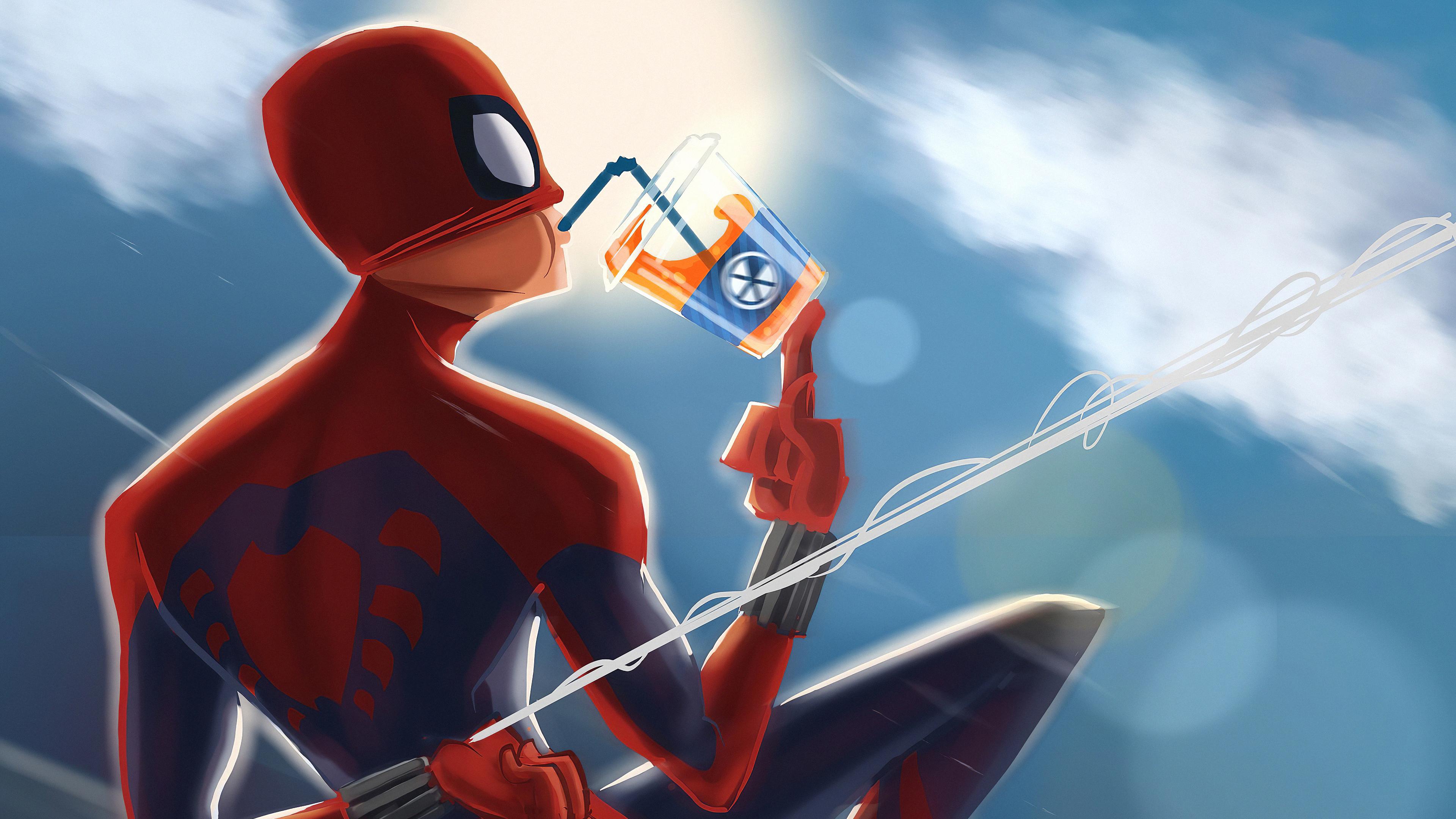 spiderman drinking juice 1576090189 - Spiderman Drinking Juice - Spiderman Drinking Juice 4k wallpaper