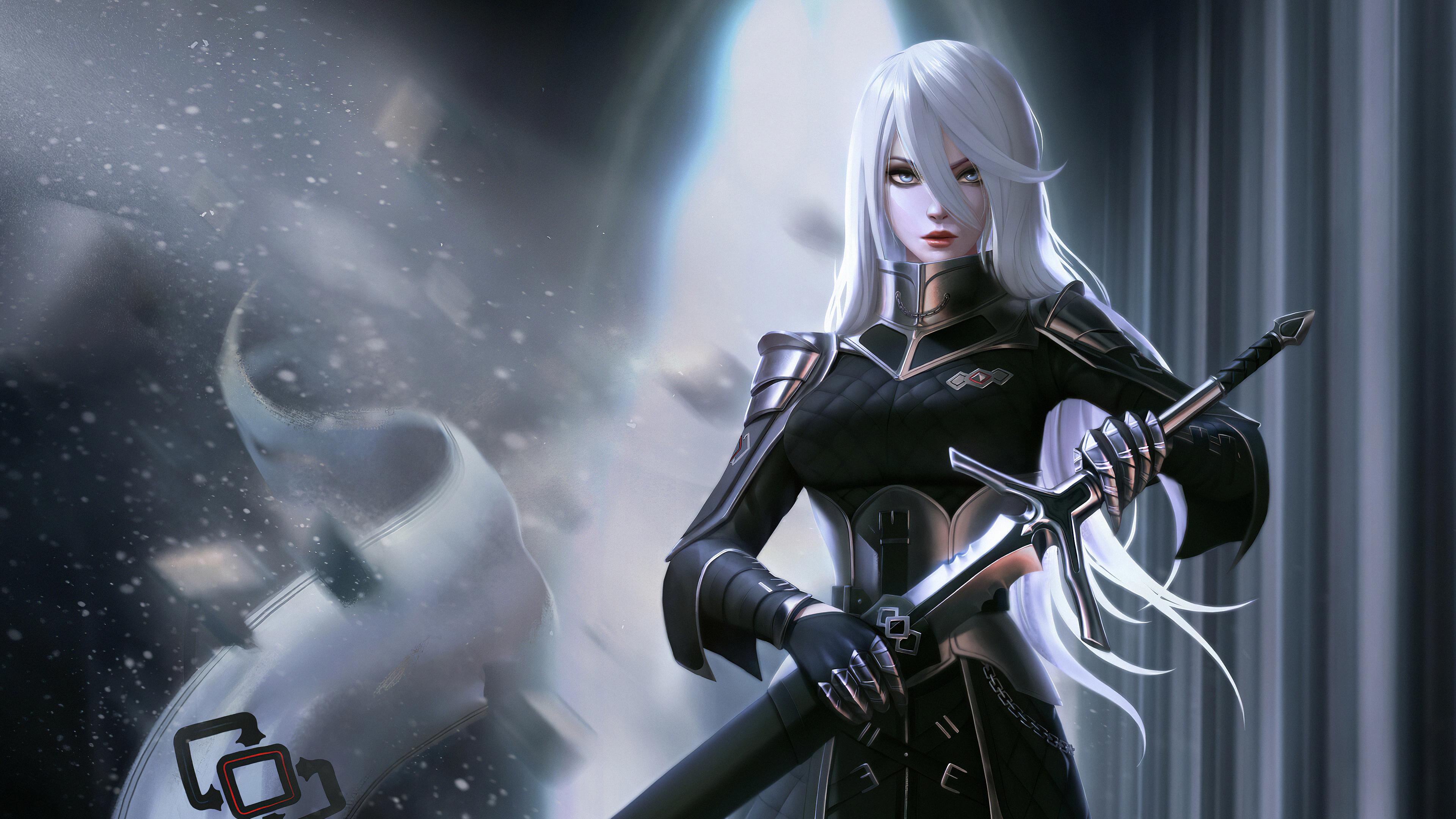 white hair black dress warrior 1575661745 - White Hair Black Dress Warrior -