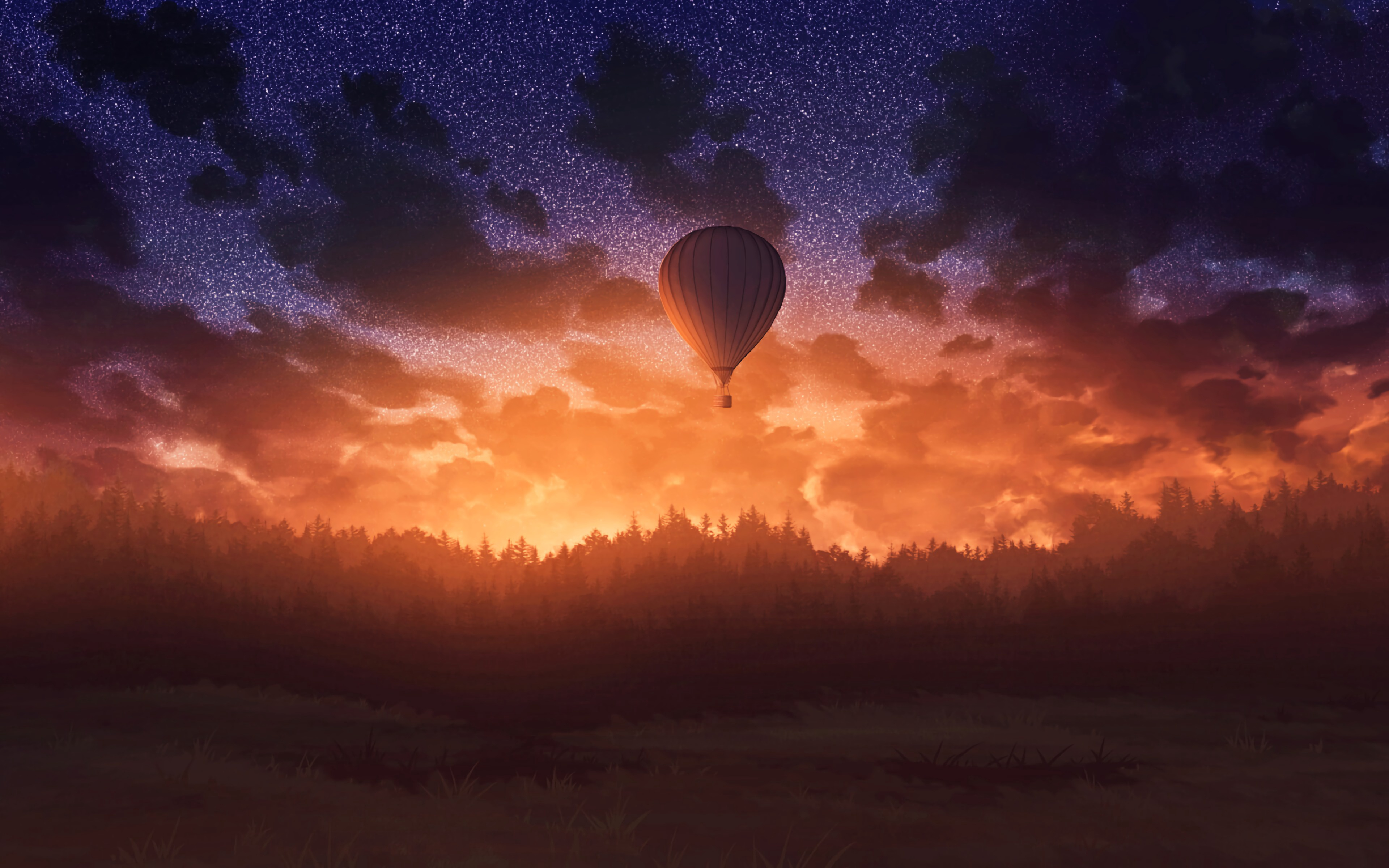 air balloons sunrise sky forest 1579381230 - Air Balloons Sunrise, Sky, Forest - Air Balloons wallpapers 4k, Air Balloons landscape wallappers 4k, Air Balloons 4k wallpapers
