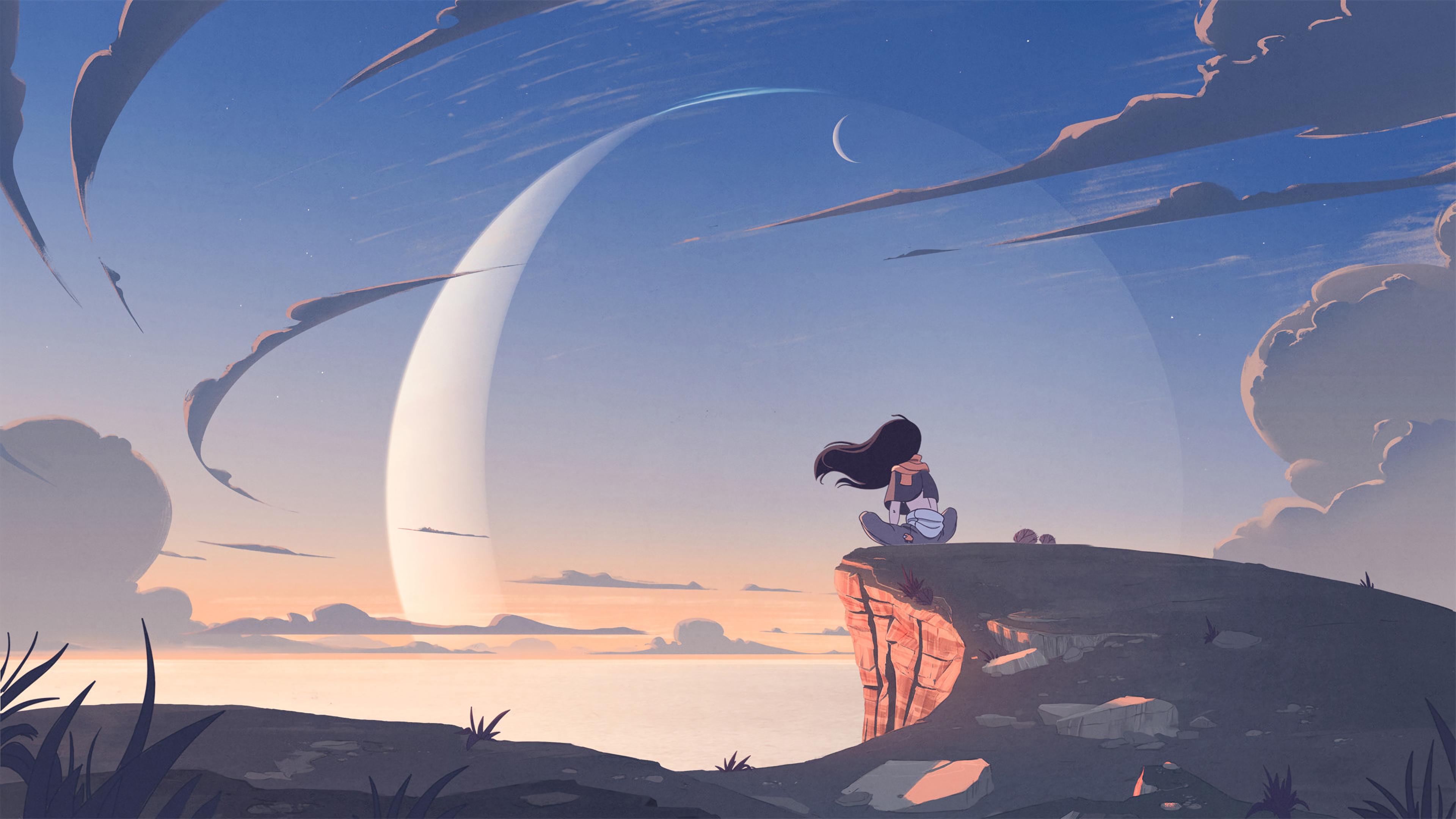 anime girl alone at mountain cliff 1578253911 - Anime Girl Alone At Mountain Cliff -