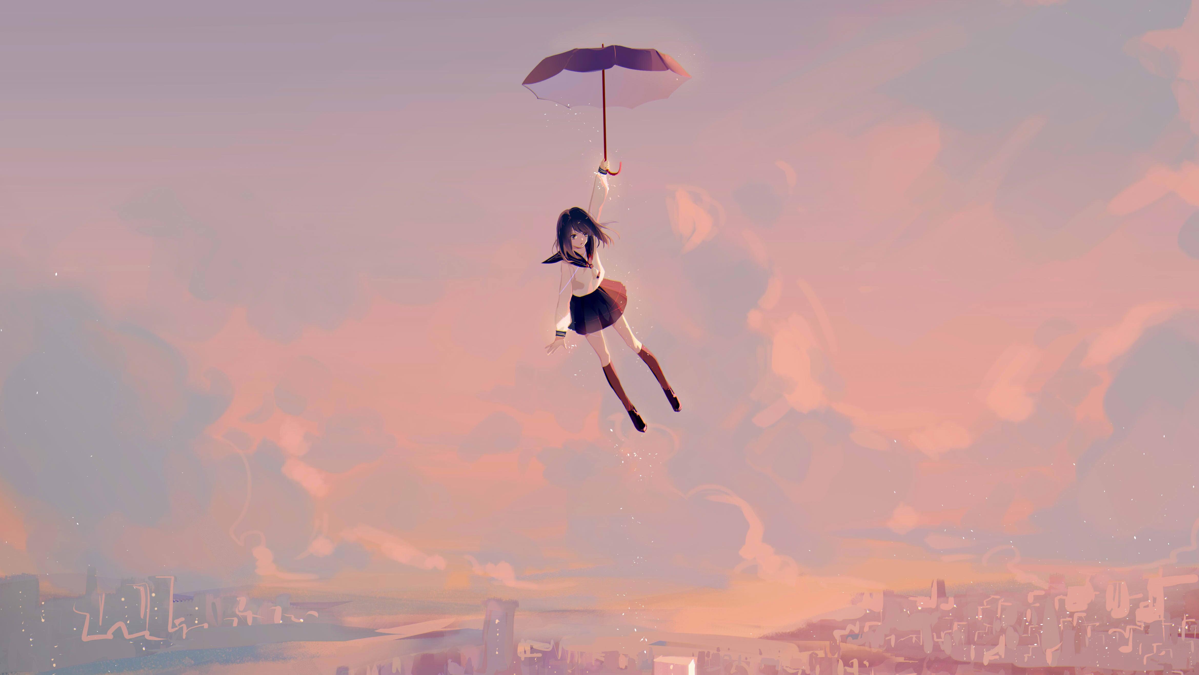 anime girl flying with umbrella 1578254320 - Anime Girl Flying With Umbrella -