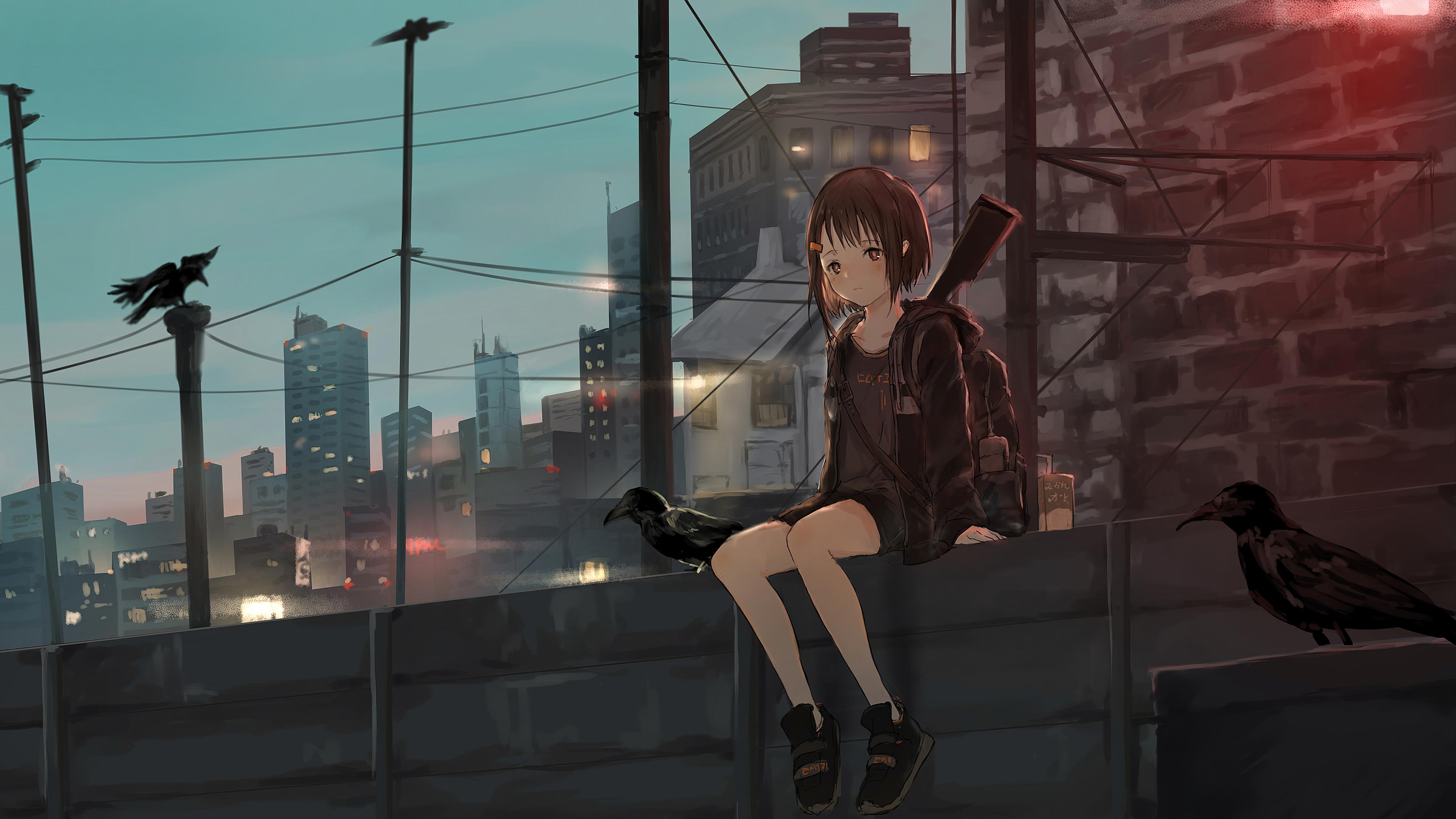 anime girl sitting alone roof sad 1578254264 - Anime Girl Sitting Alone Roof Sad -