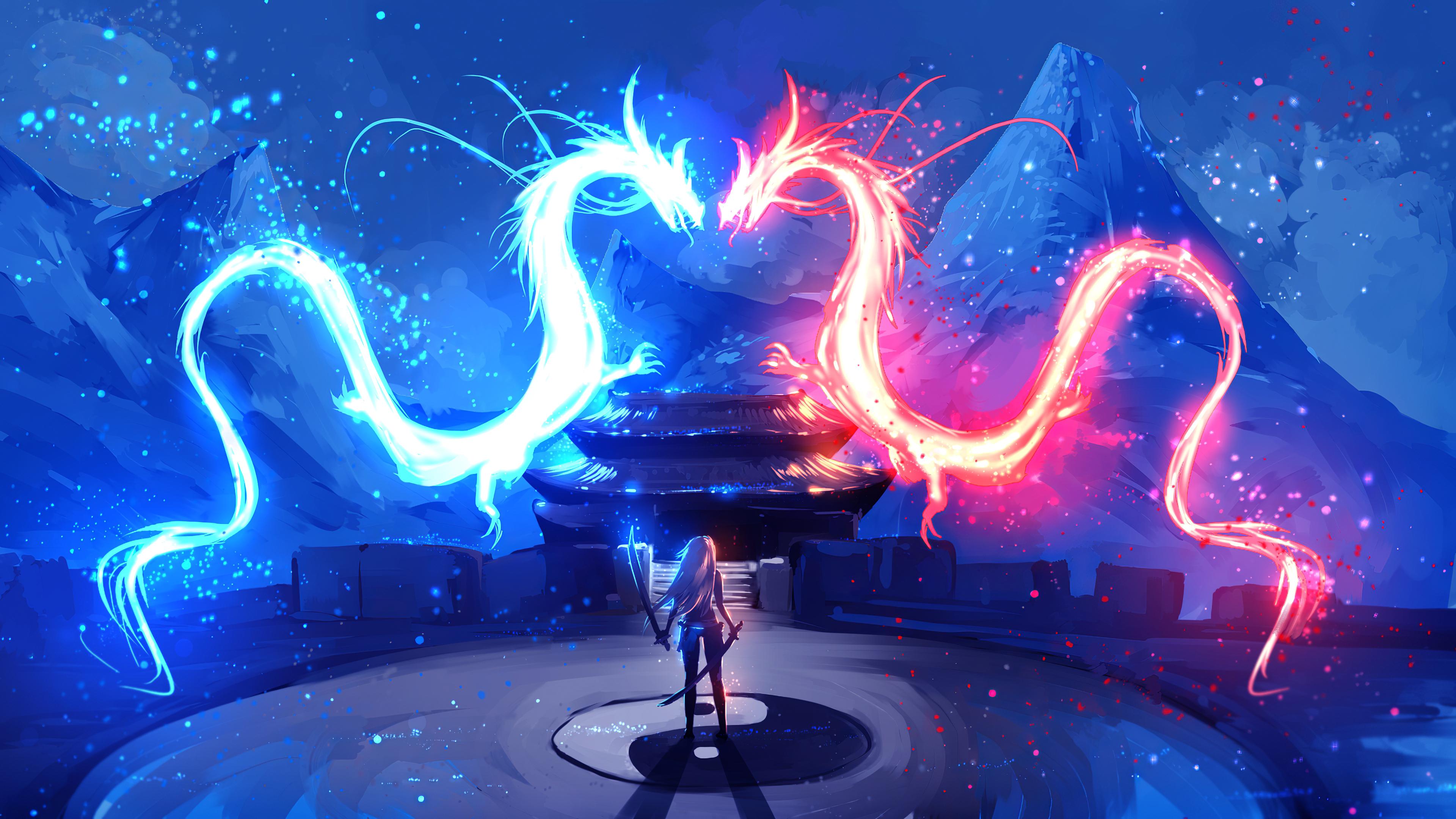 Wallpaper 4k Dragon Red Blue Colorful Art
