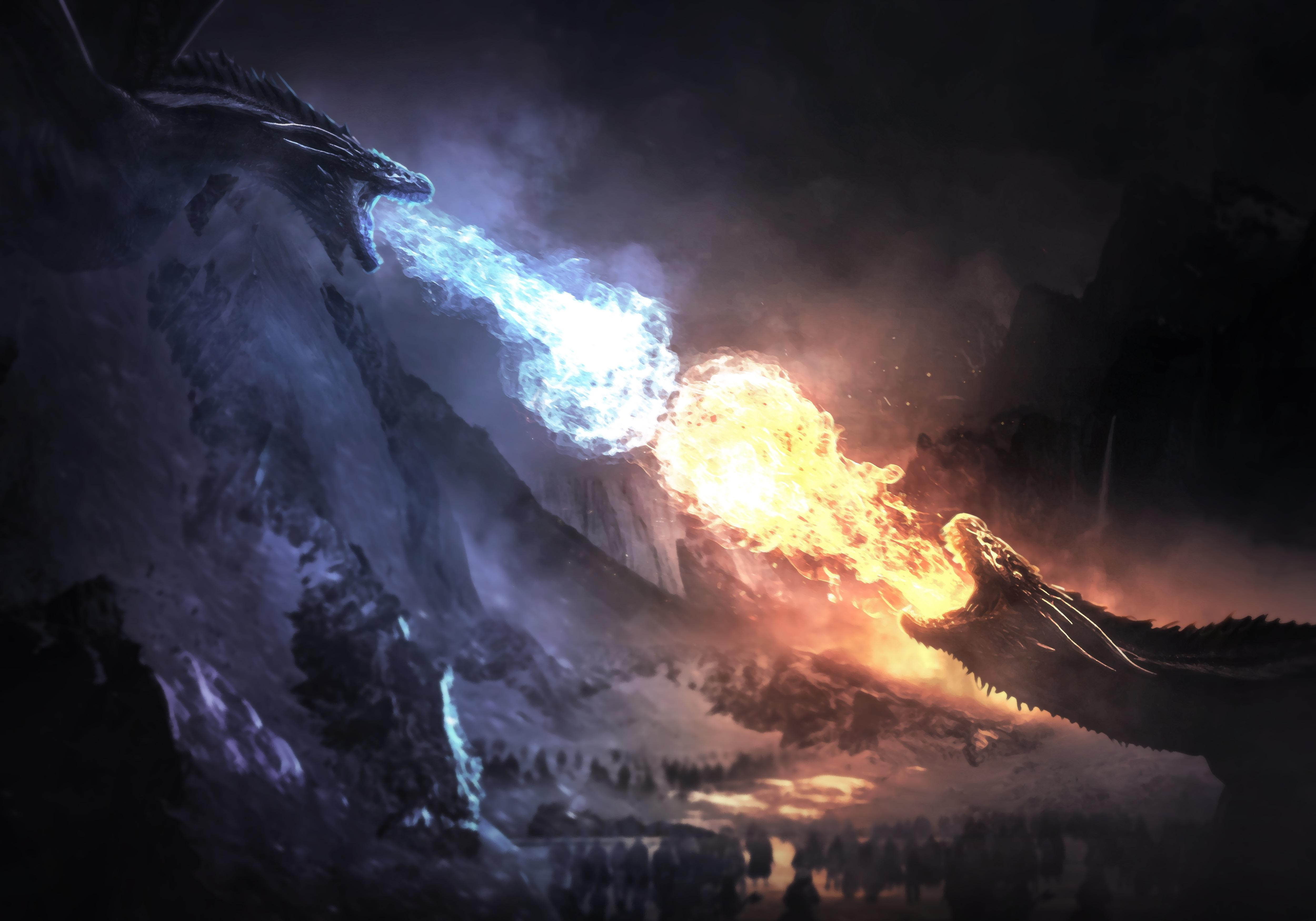 game of thrones season 8 dragons fight 1577912540 - Game Of Thrones Season 8 Dragons Fight - Got Dragons Fight 4k wallpaper, Dragons Fight game of thrones 4k wallpaper