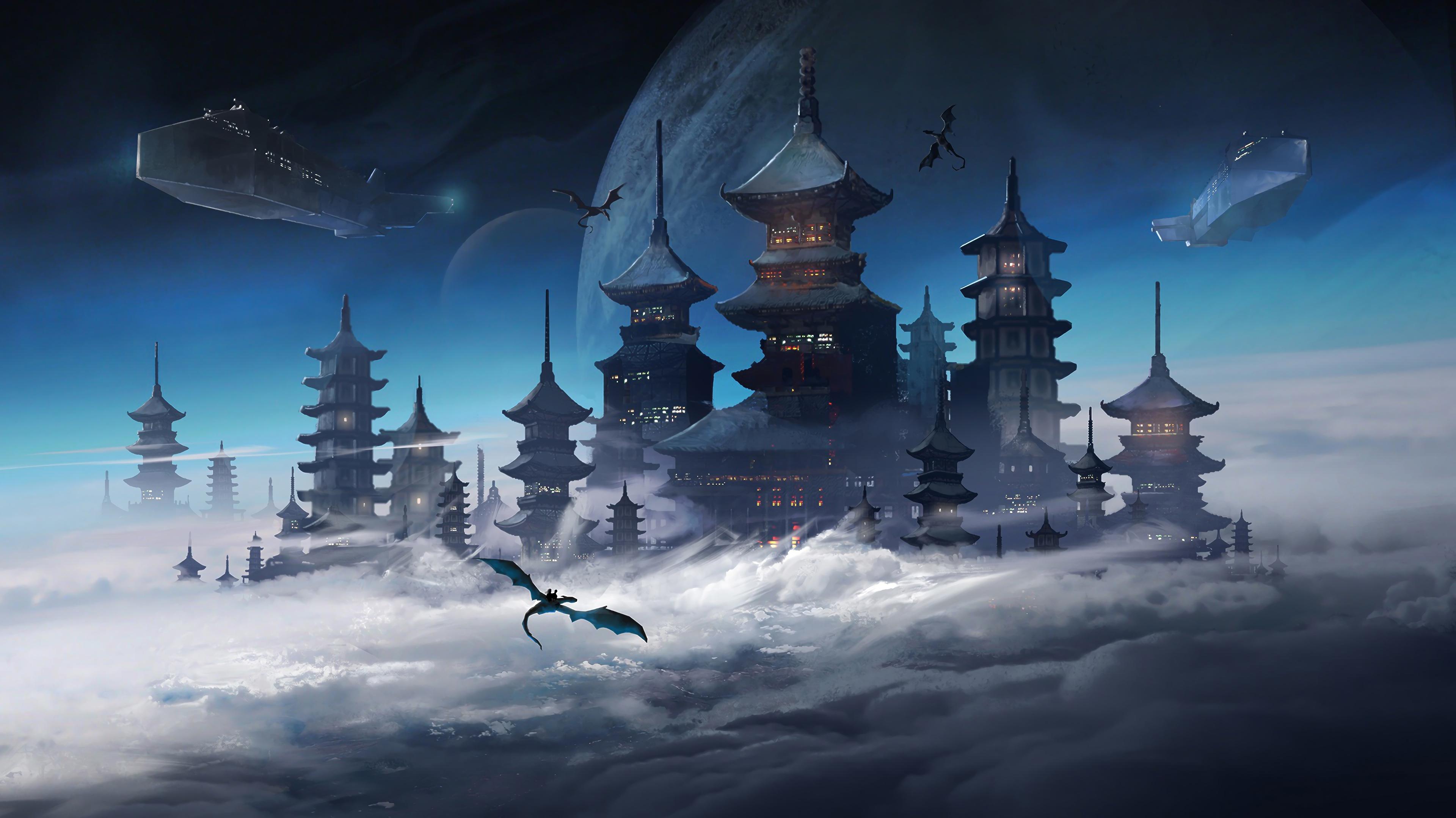 Wallpaper 4k Japanese Castle Fantasy Sci Fi Japanese Castle 4k Wallpapers Japanese Castle Fantasy Sci Fi Wallpapers