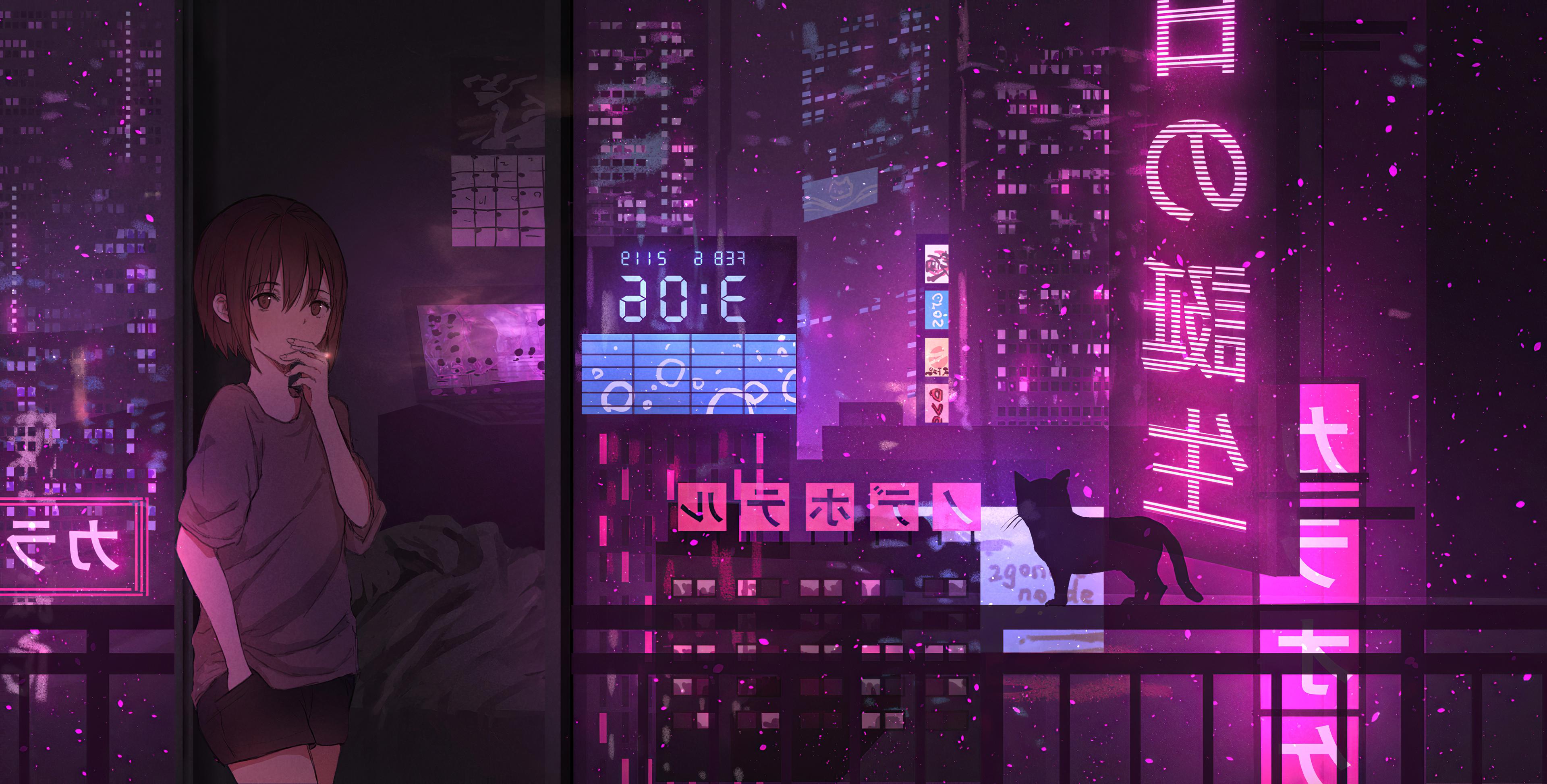 neon night anime girl cat 1578254262 - Neon Night Anime Girl Cat -