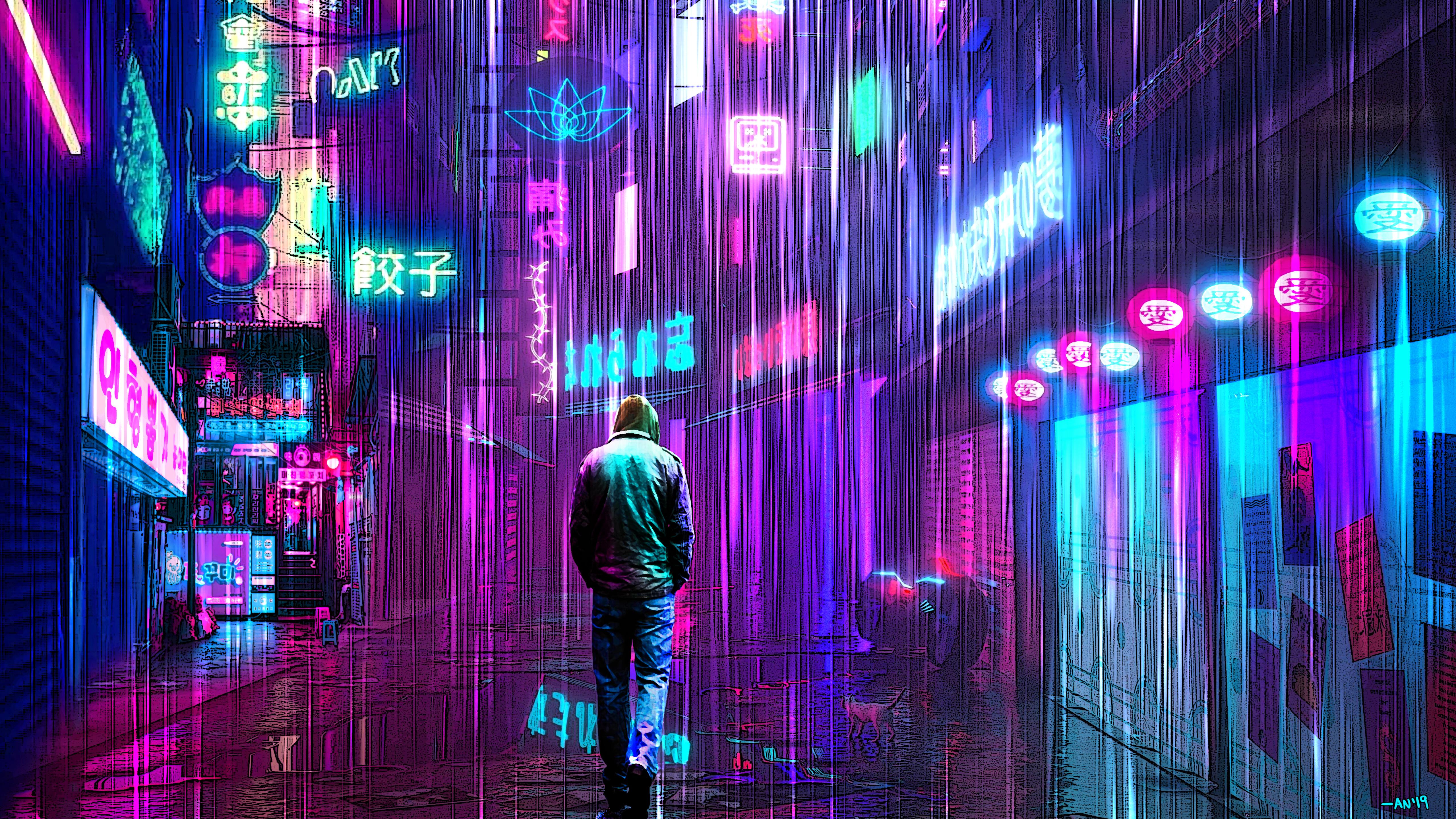 Wallpaper 4k Neon Rainy Lights Cyberpunk