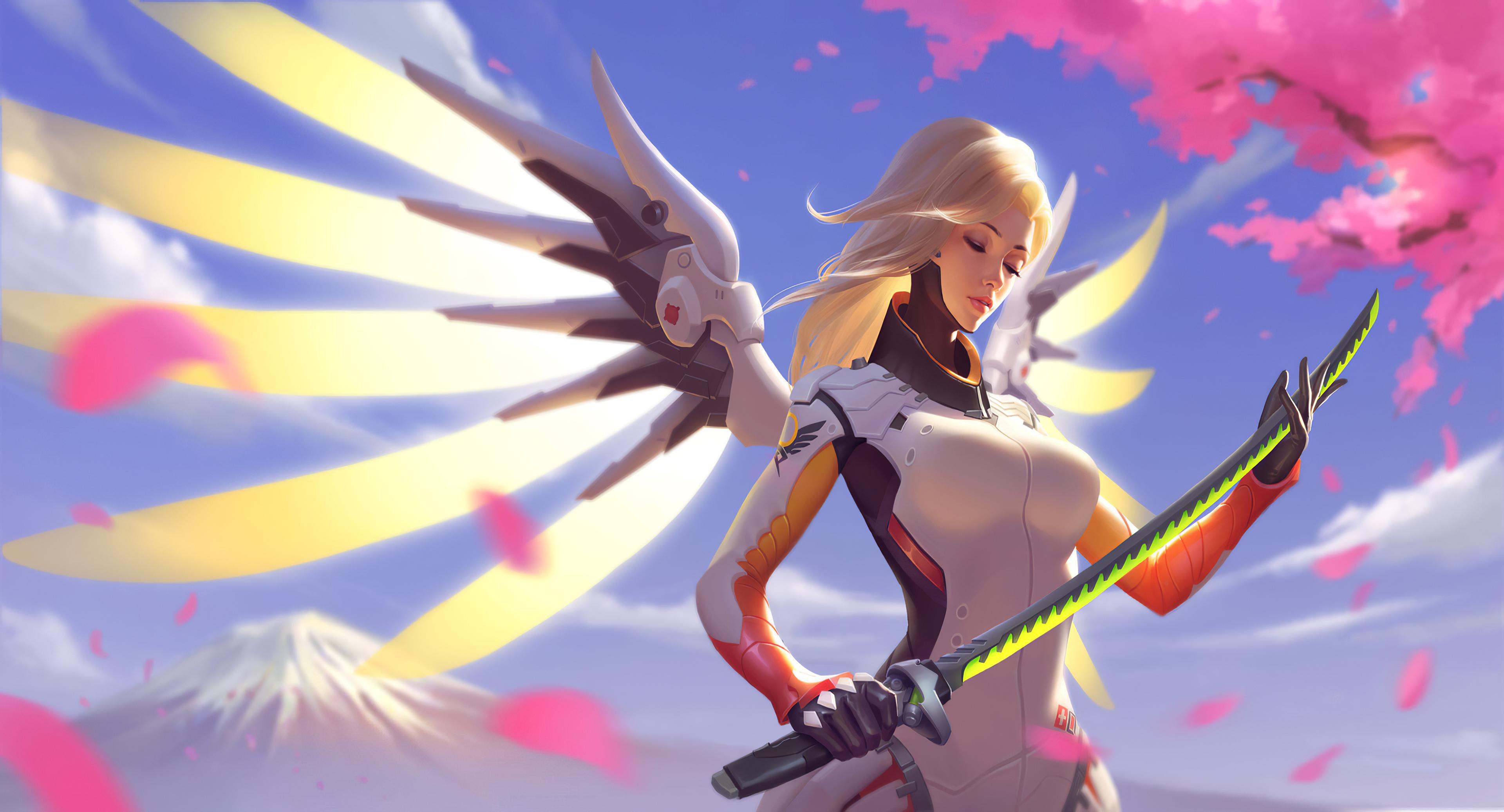 overwatch mercy with genji sword 1578854279