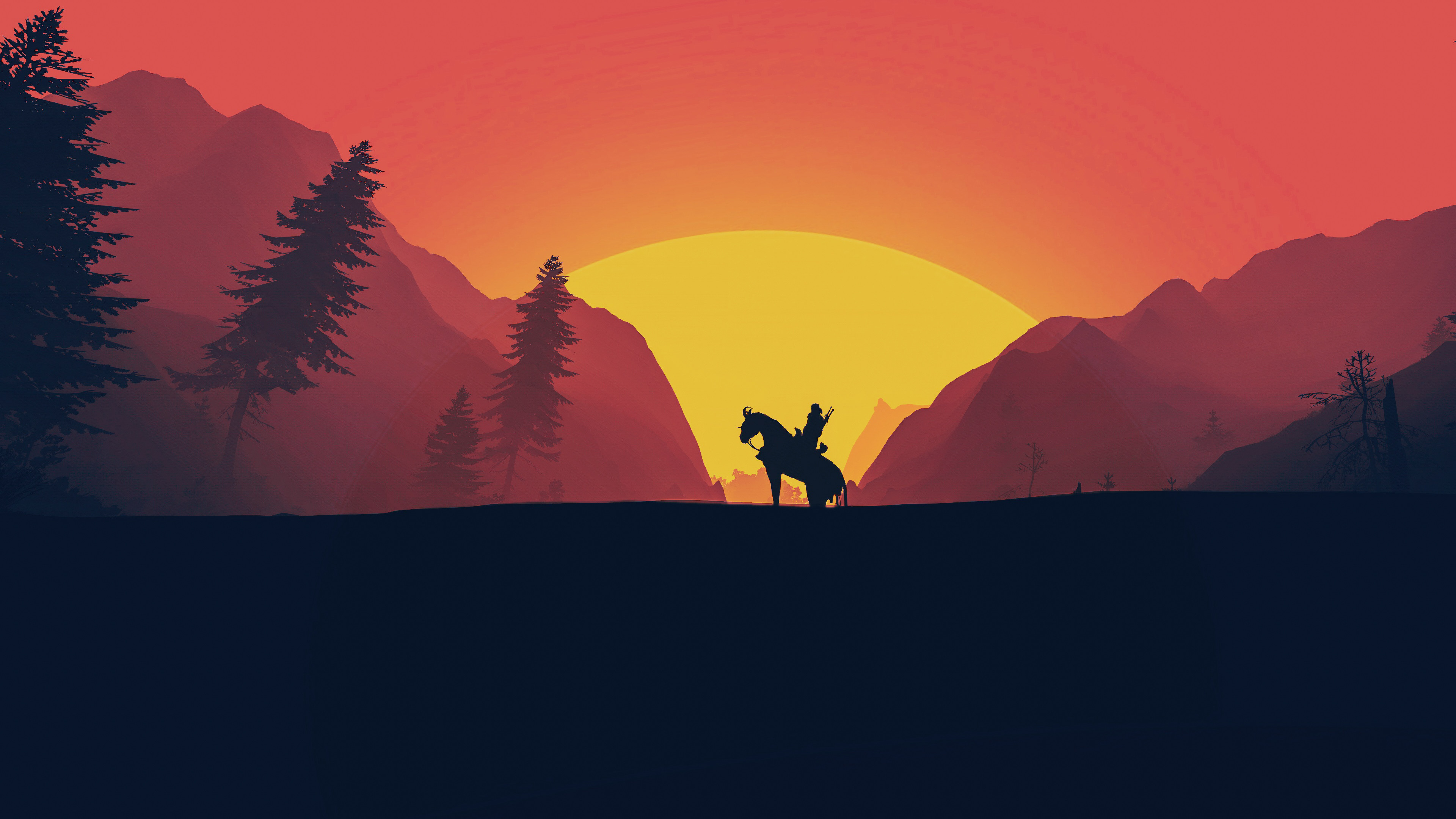 Wallpaper 4k The Witcher 3 Wild Hunt Minimal Art The Witcher 3