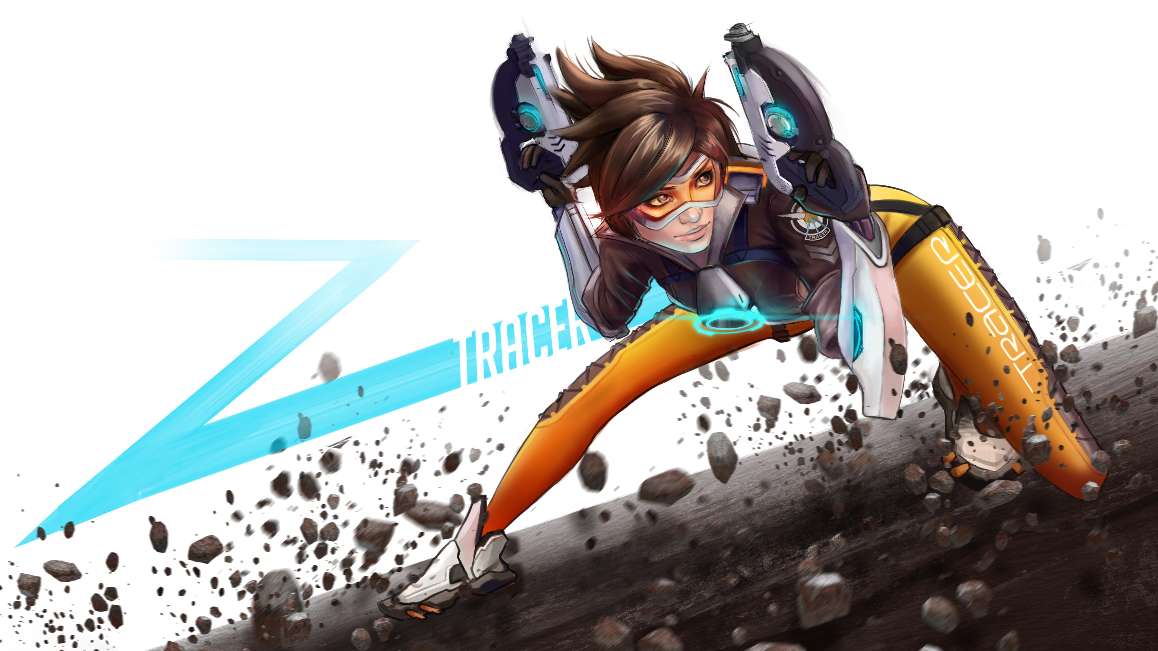 tracer overwatch digital art 4k ho 3840x2160 1 - Tracer Overwatch Art - tracer wallpaper 4k, Tracer Overwatch Art 4k wallpaper