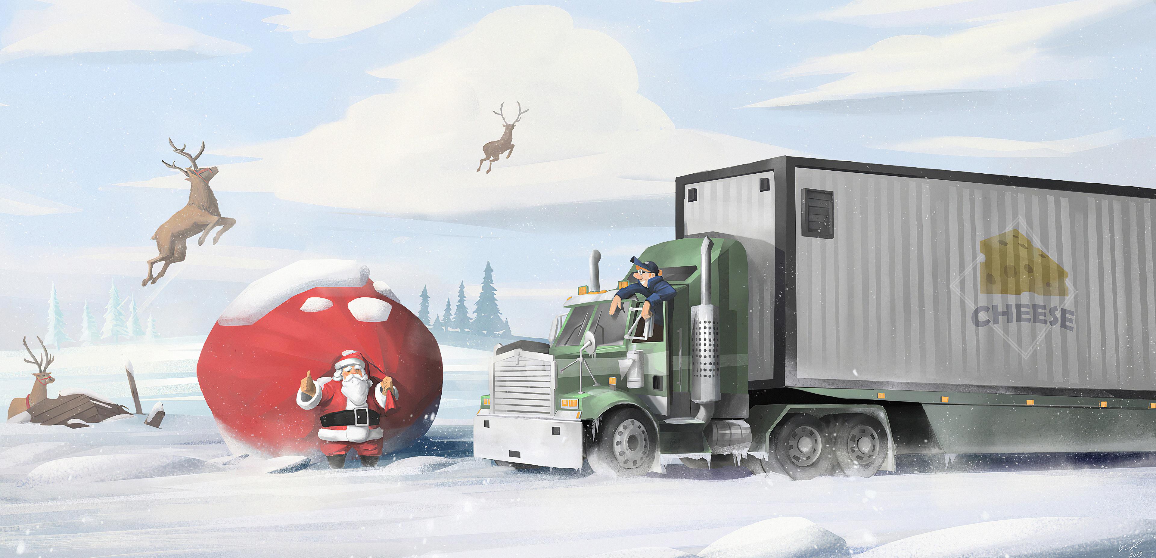 truck driver and santa claus 1578254816 - Truck Driver And Santa Claus -
