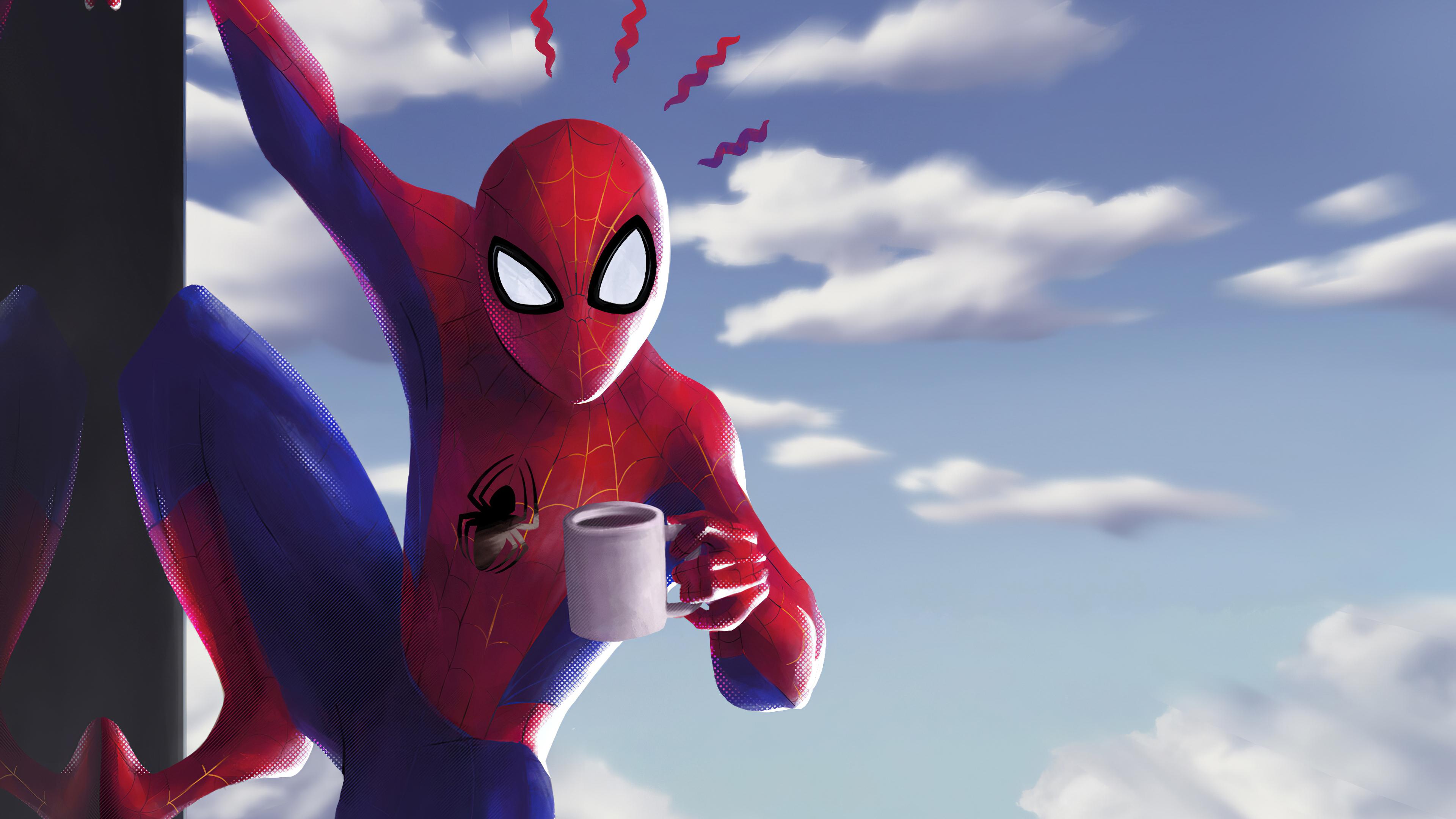 spider man with coffe 1581357162 - Spider Man With Coffe - Spider man wallpapers, spider man wallpaper phone 4k hd, spider man background hd 4k, spider man 4k wallpaper
