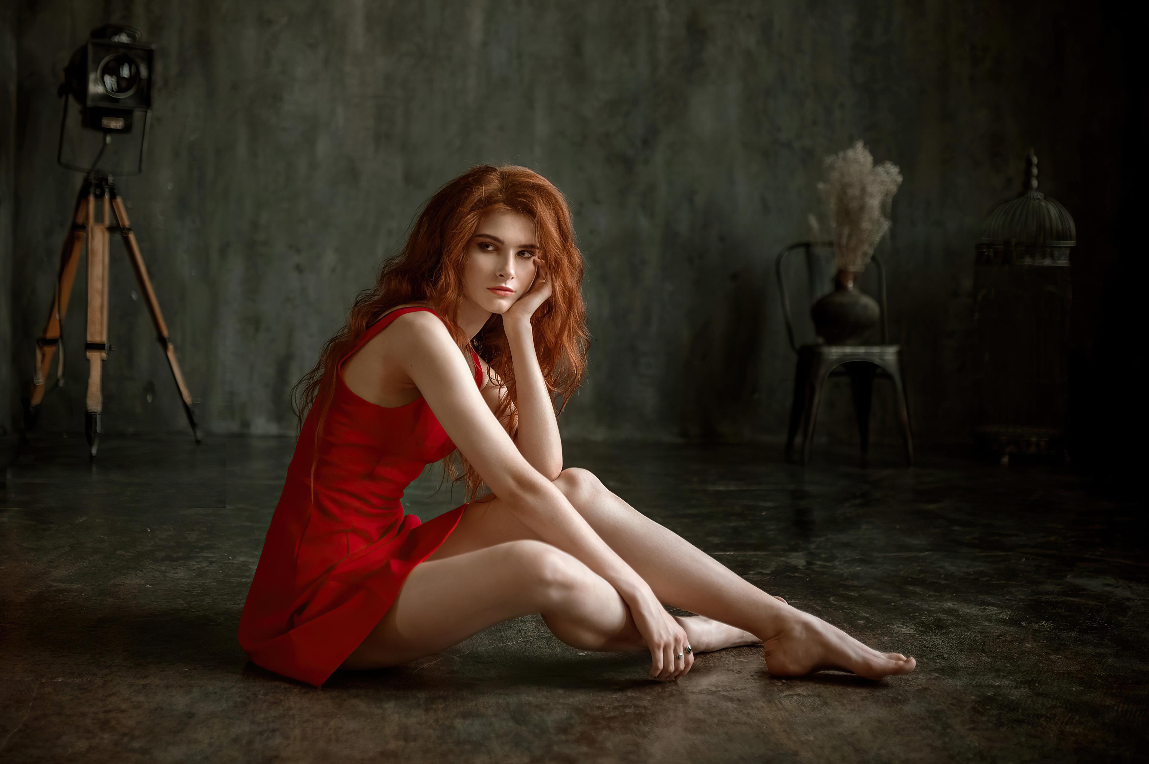 redhead red dress girl sitting 4k 1596916318 - Redhead Red Dress Girl Sitting 4k -
