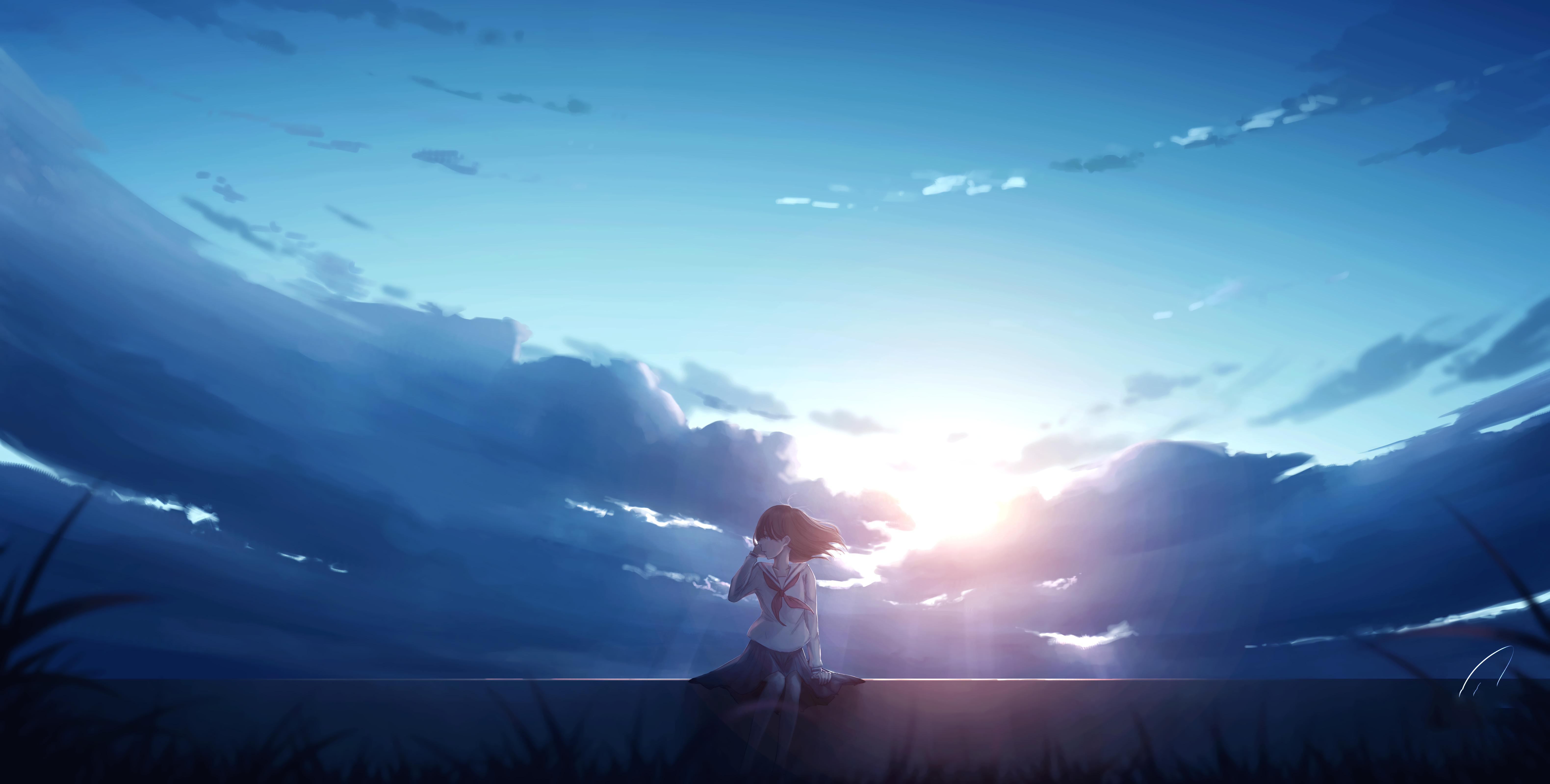 Anime Girl Alone Sitting 4k Anime Girl Alone Sitting 4k ...