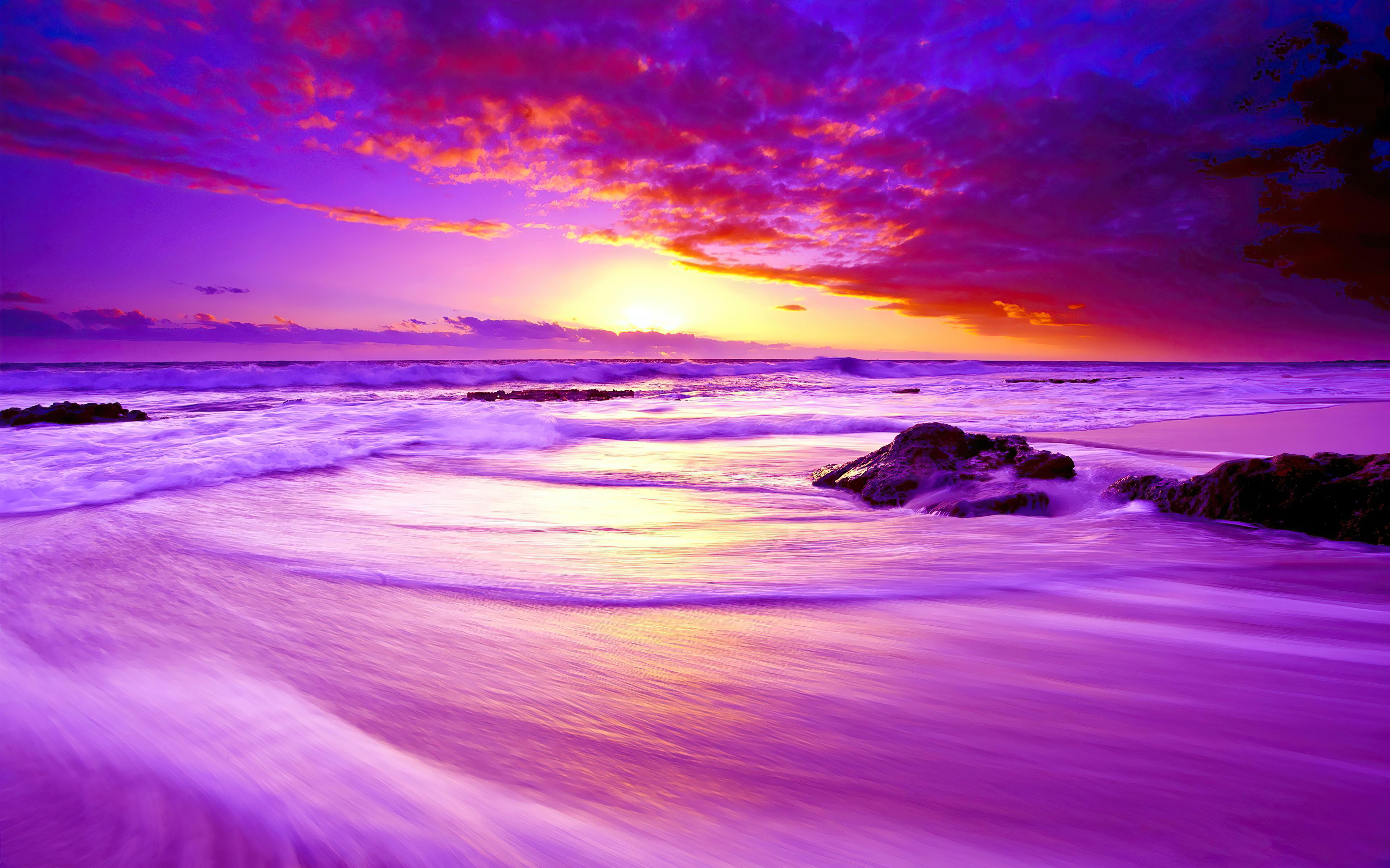 Purple Beach Sunset 4k Purple Beach Sunset 4k wallpapers