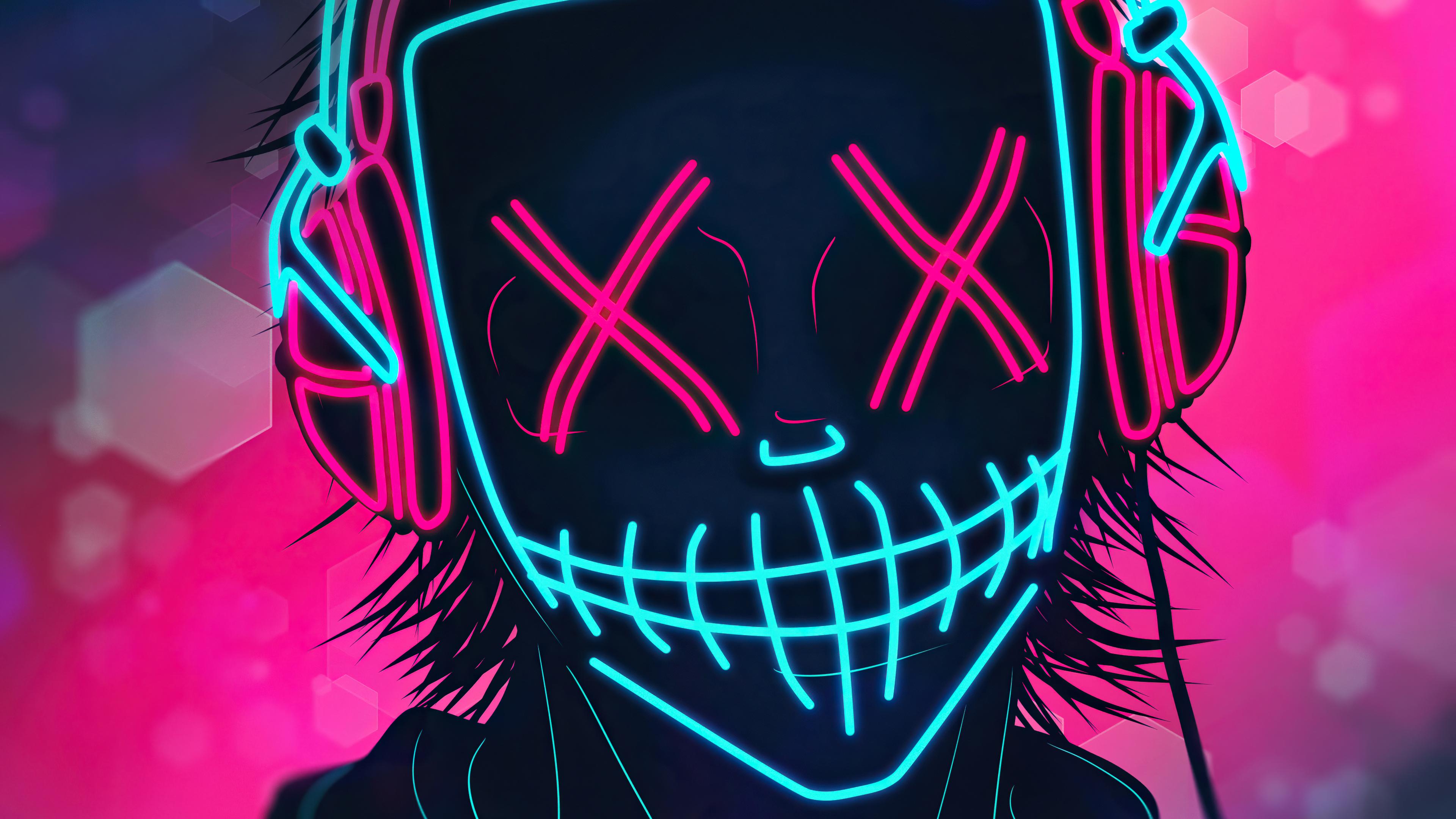 Mask Boy Listening Music Neon 4k Mask Boy Listening Music ...