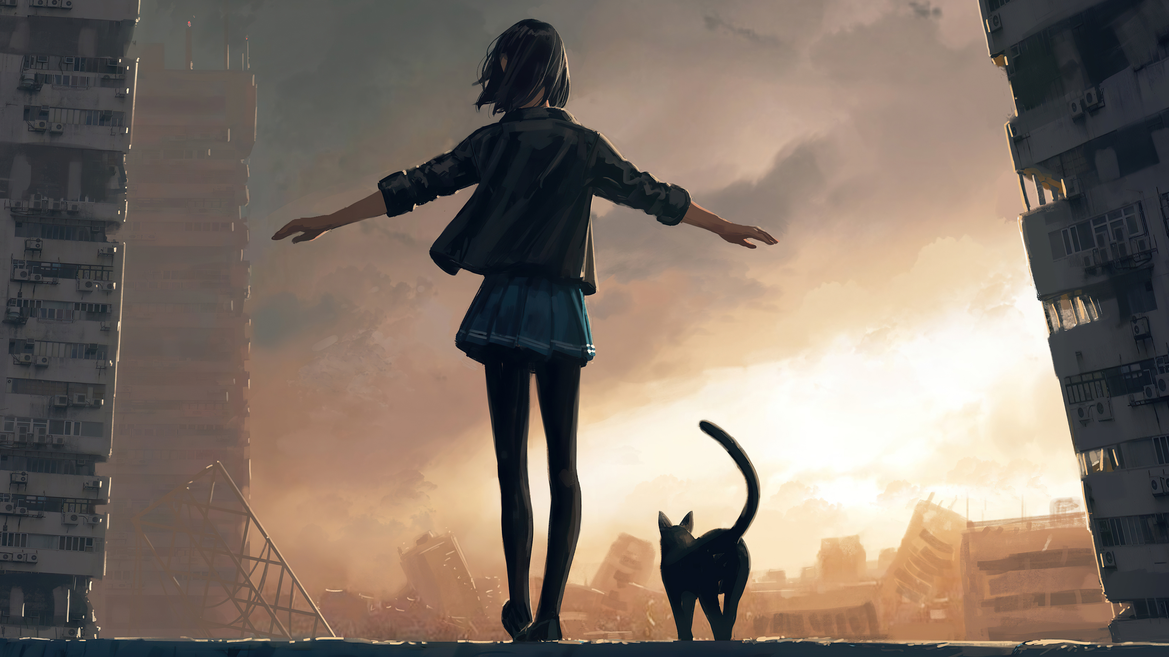 girl walking with cat on roof wall 4k 1608581778 - Girl Walking With Cat On Roof Wall 4k - Girl Walking With Cat On Roof Wall 4k wallpapers