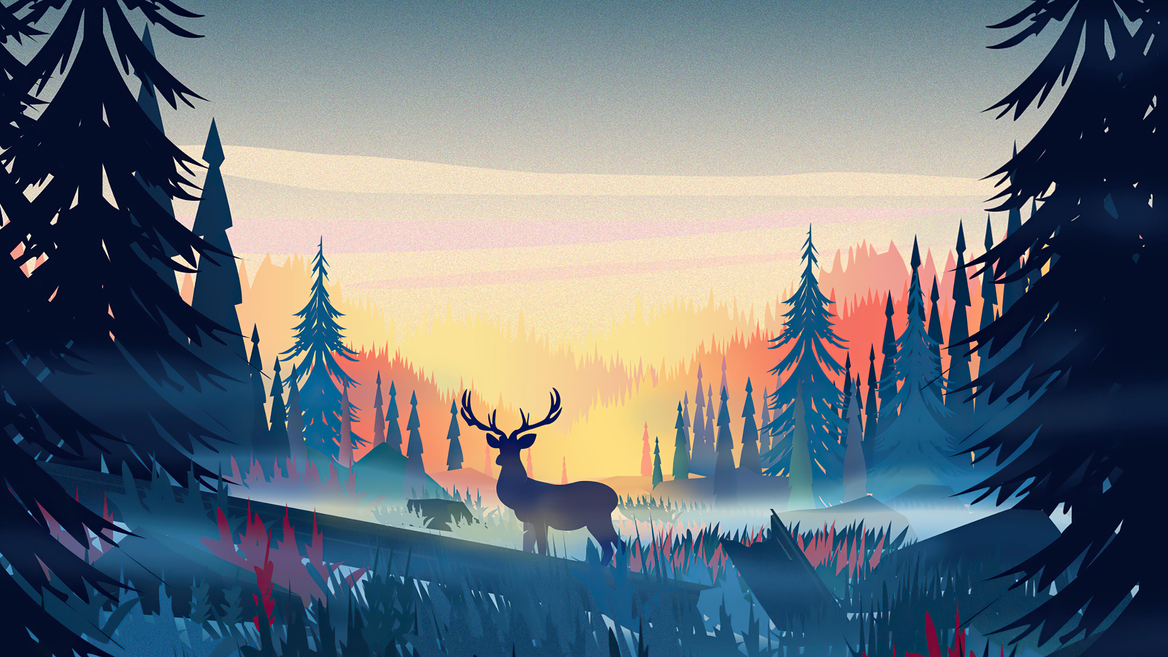 reindeer minimal forest minimalism 4k 1616874176 - Reindeer Minimal Forest Minimalism 4k - Reindeer Minimal Forest Minimalism 4k wallpapers