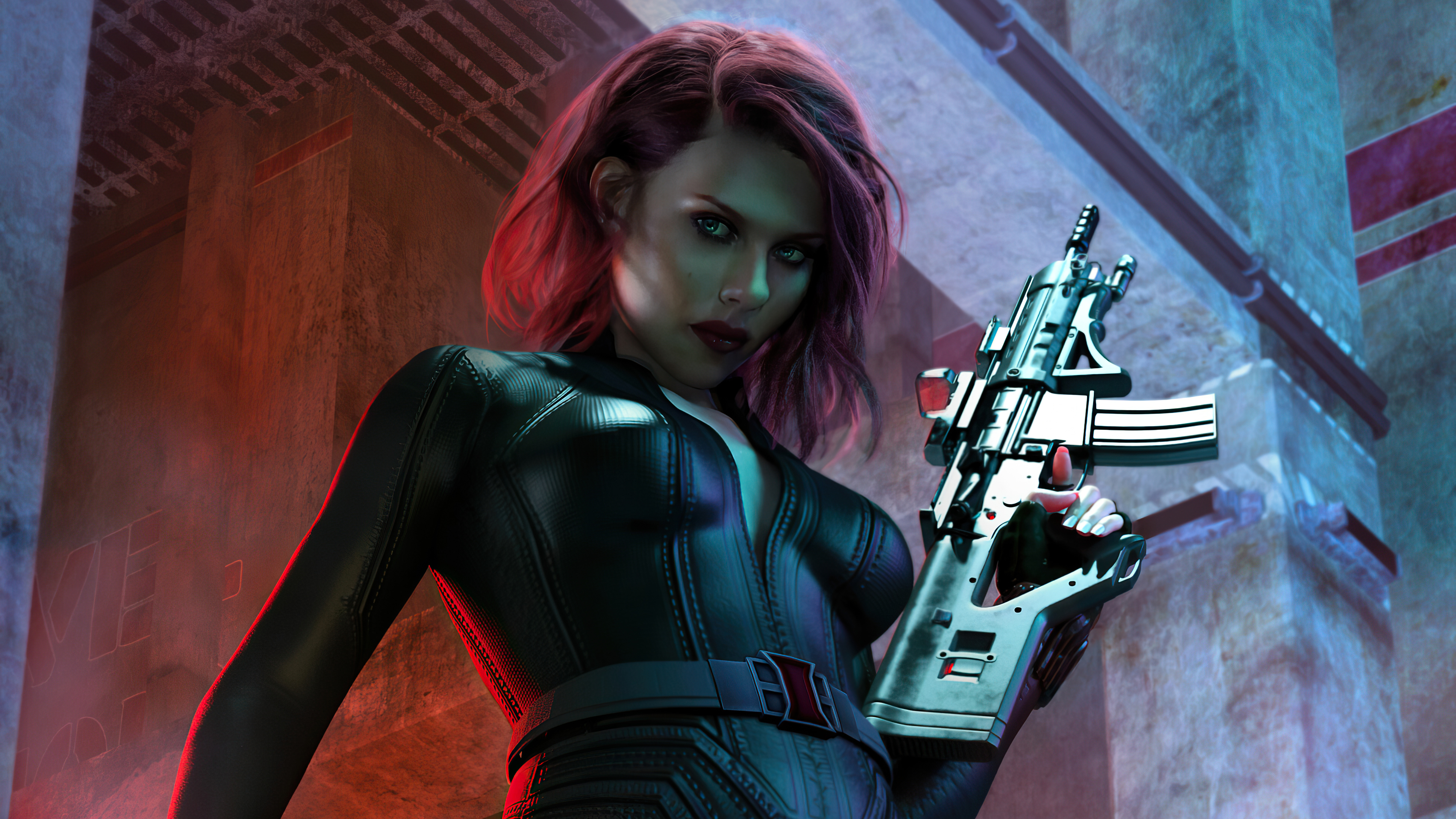 black widow with ak47 4k 1619215933 - Black Widow With Ak47 4k - Black Widow With Ak47 4k wallpapers