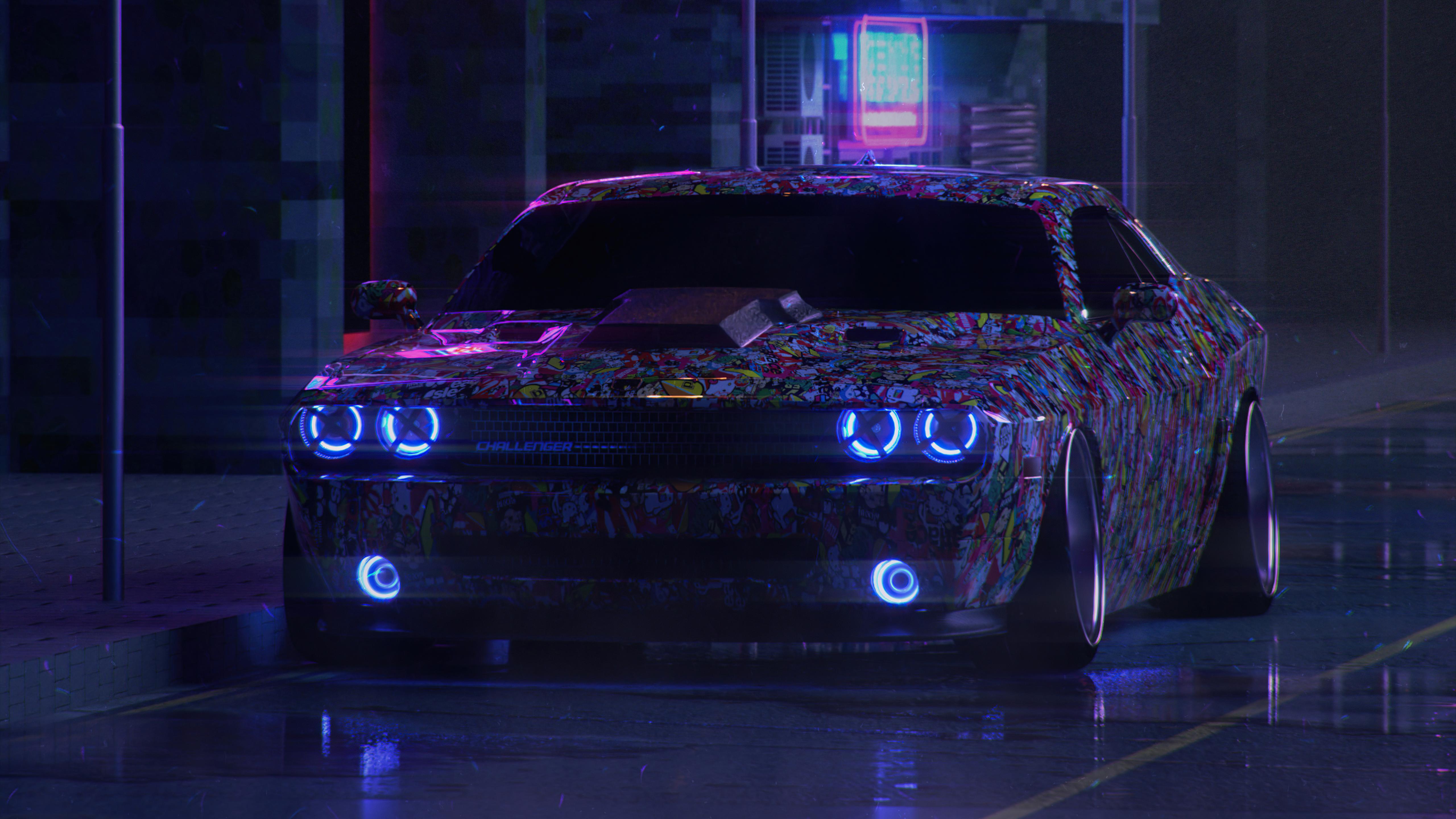 dodge challenger on street neon 4k 1618920300 - Dodge Challenger On Street Neon 4k - Dodge Challenger On Street Neon 4k wallpapers