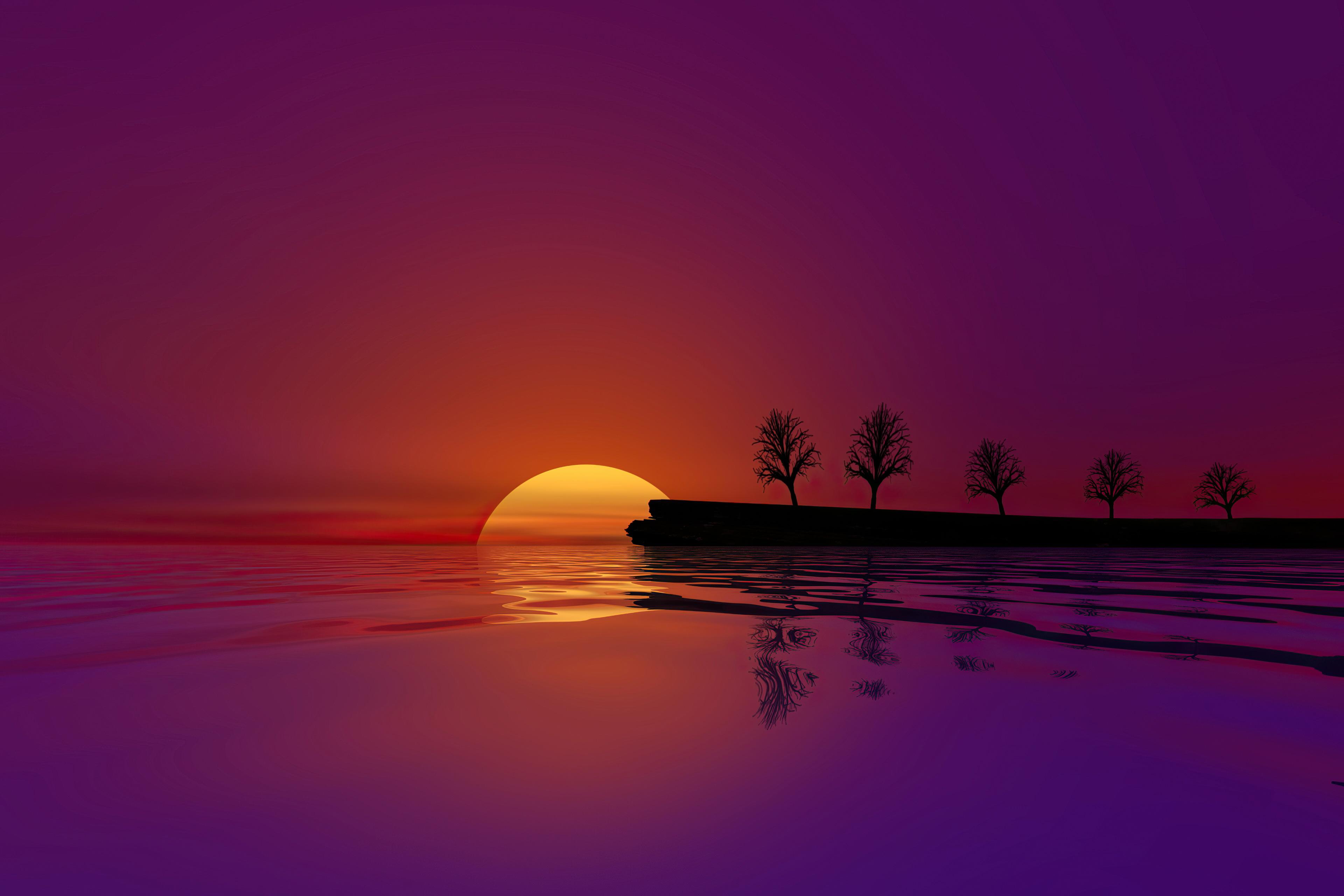 waterscape sunset 4k 1618128873 - Waterscape Sunset 4k - Waterscape Sunset 4k wallpapers